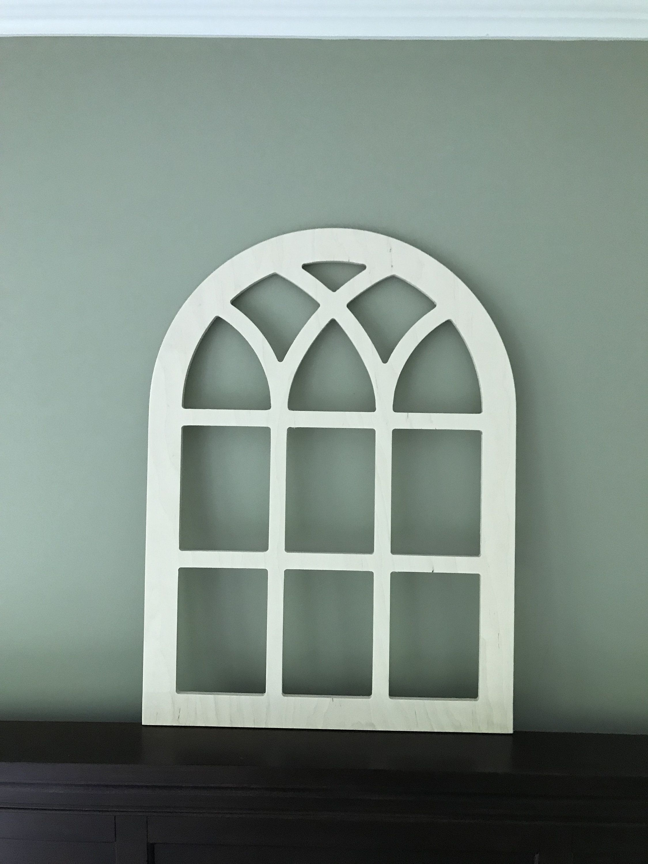 Arched Farmhouse Frame, Faux Window Frame, Arched, Stained Inside Shutter Window Hanging Wall Decor (View 8 of 30)