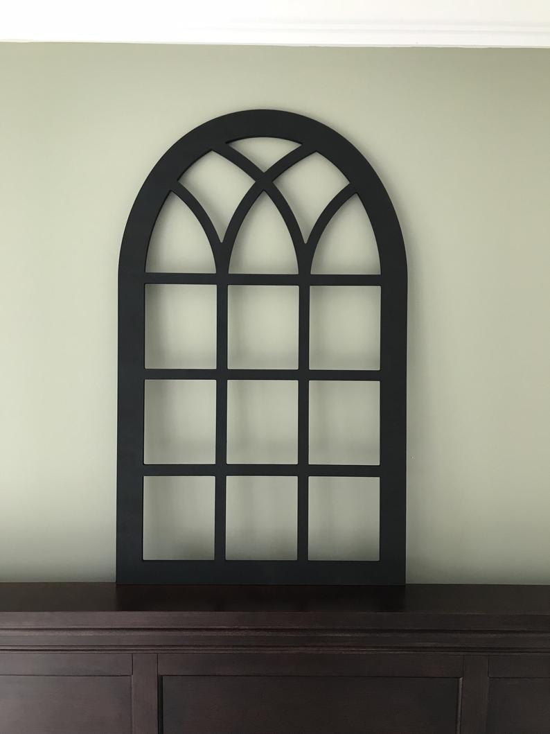 Arched Farmhouse Frame In Flat Black Paint, Faux Window, Arched, Custom Arch, Shabby Chic, Wall Hanging Wall Decor, Shutter Vintage Inspired With Shutter Window Hanging Wall Decor (View 7 of 30)