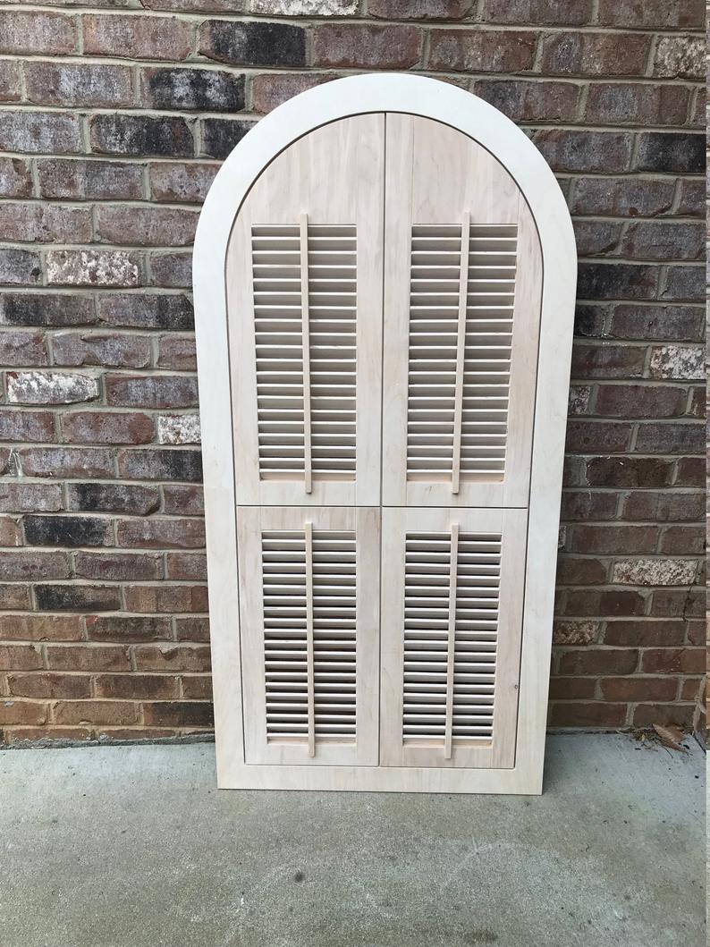 Arched Wood Shutter, With Louvers, Window Frame, Arched, Custom Arch, Shabby Chic, Wall Hanging Wall Decor, Vintage Inspired, Wooden 59X29 With Regard To Shutter Window Hanging Wall Decor (View 10 of 30)