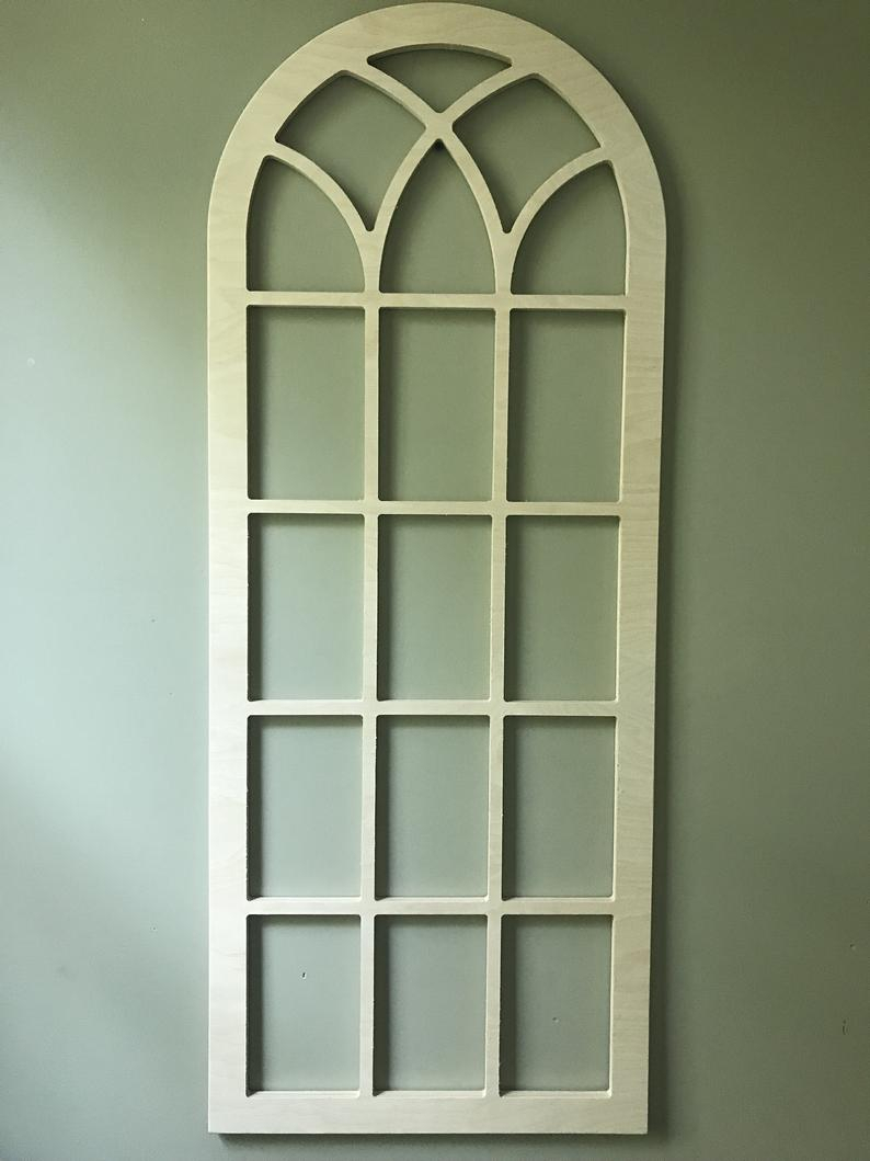 Arched Wood Wall Decor, Faux Window Frame, Arched, Stained, Custom Arch, Shabby Chic, Wall Hanging Wall Decor, Shutter, Vintage Inspired 45H With Regard To Shutter Window Hanging Wall Decor (View 11 of 30)