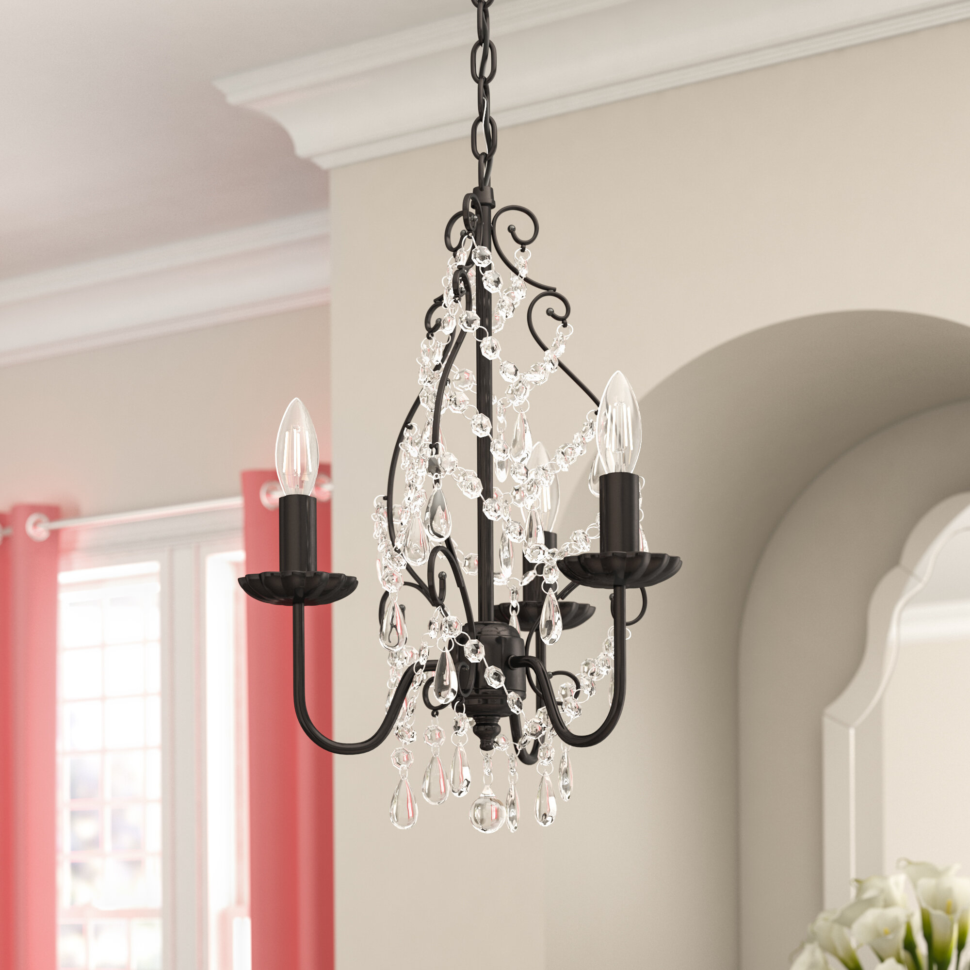 Archway 3-Light Candle Style Chandelier within Spokane 1-Light Single Urn Pendants (Image 3 of 30)