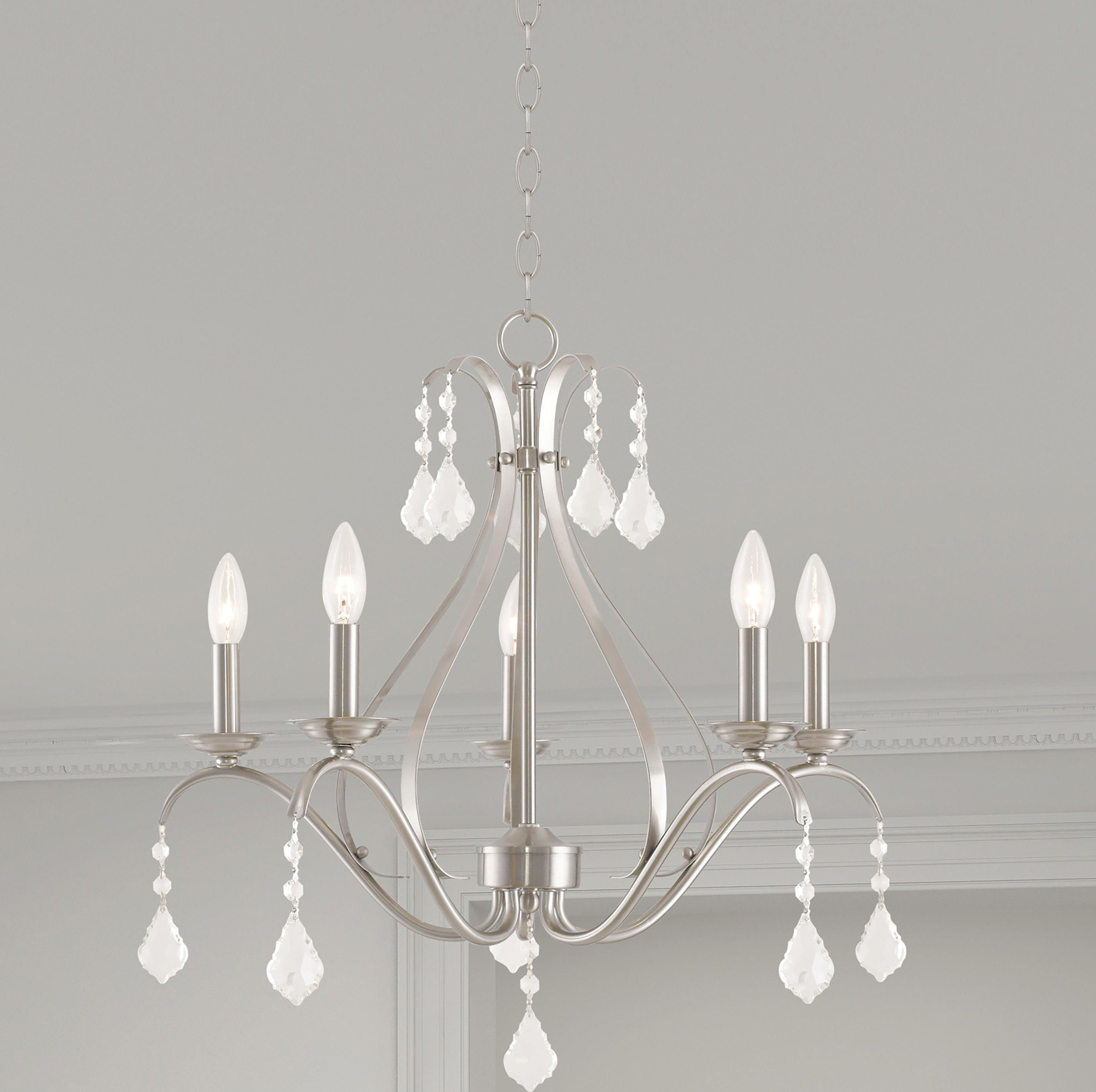 Aria 5 Light Candle Style Chandelier In Berger 5 Light Candle Style Chandeliers (View 4 of 30)