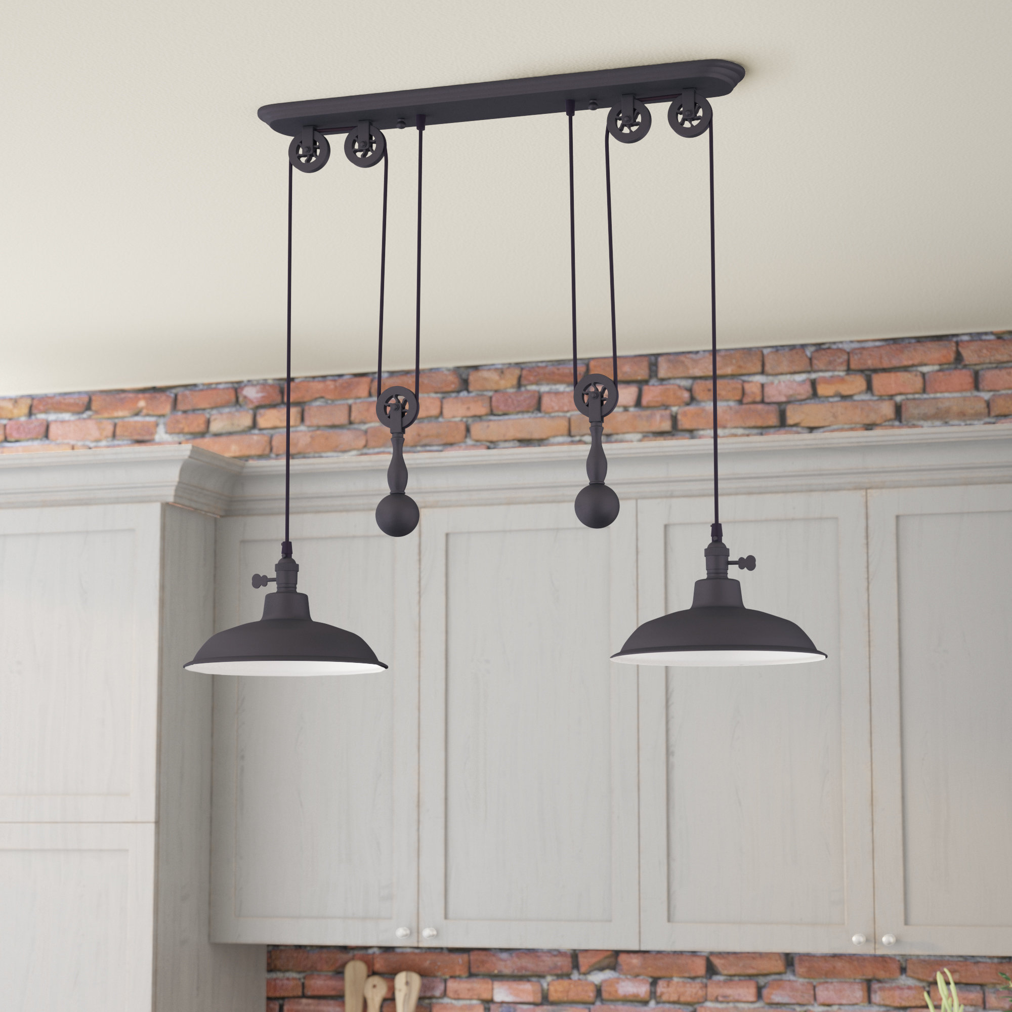 Ariel 2 Light Kitchen Island Dome Pendant With Euclid 2 Light Kitchen Island Linear Pendants (View 4 of 30)