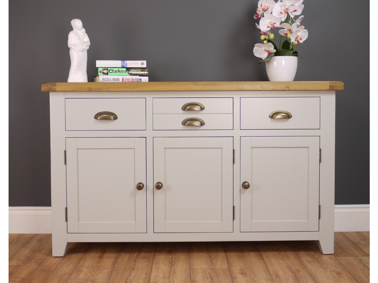 Arklow Light Grey Painted Large Sideboard Oak City Dining with regard to Courtdale Sideboards (Image 4 of 30)