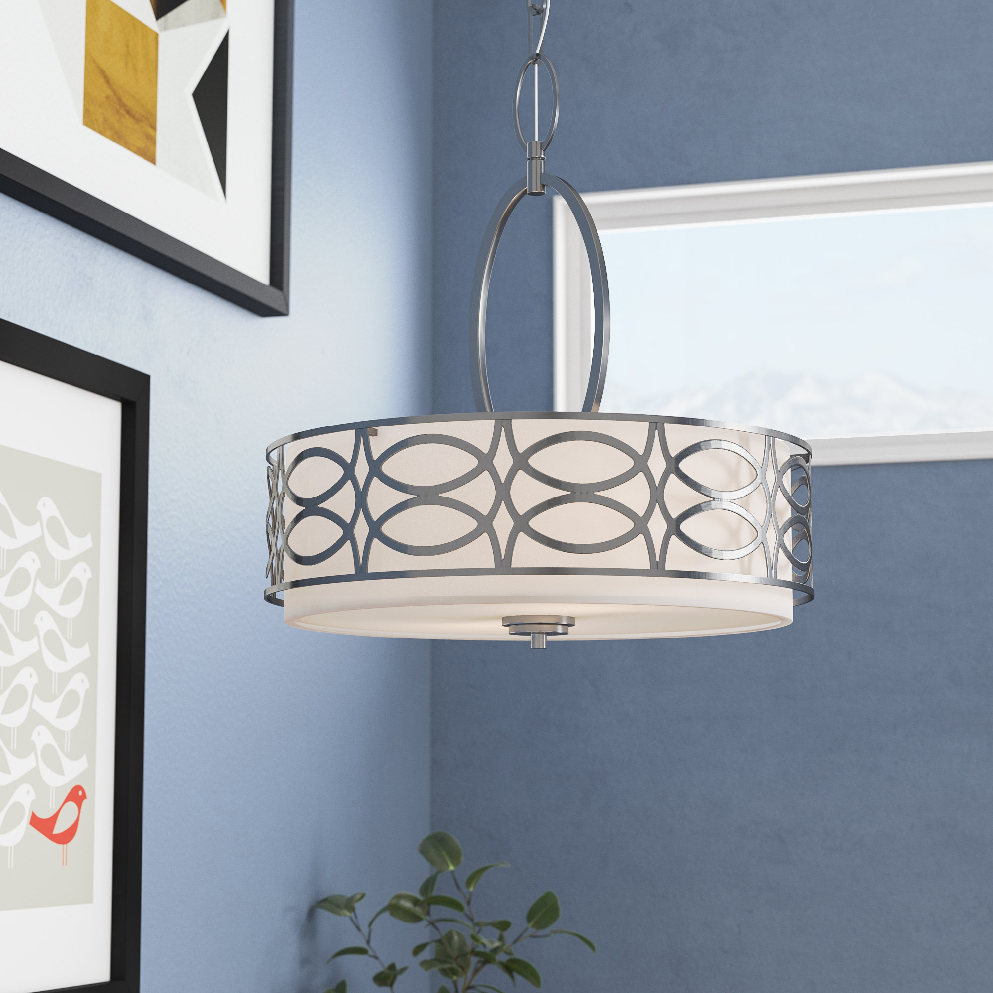 Armande 3 Light Pendant | Wayfair for Armande 3-Light Lantern Geometric Pendants (Image 3 of 30)