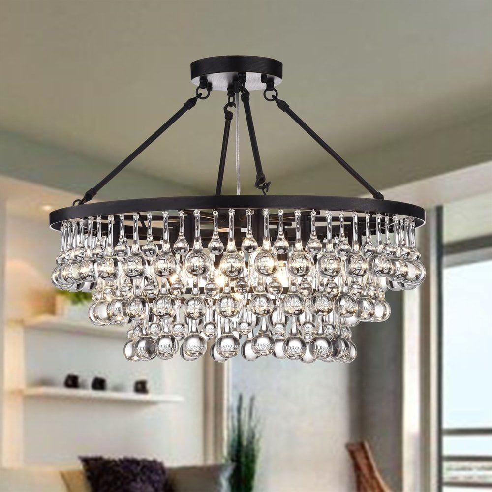 Arosa 9-Light Black Semi Flush Mount | Kitchen | Flush Mount regarding Mcknight 9-Light Chandeliers (Image 10 of 30)