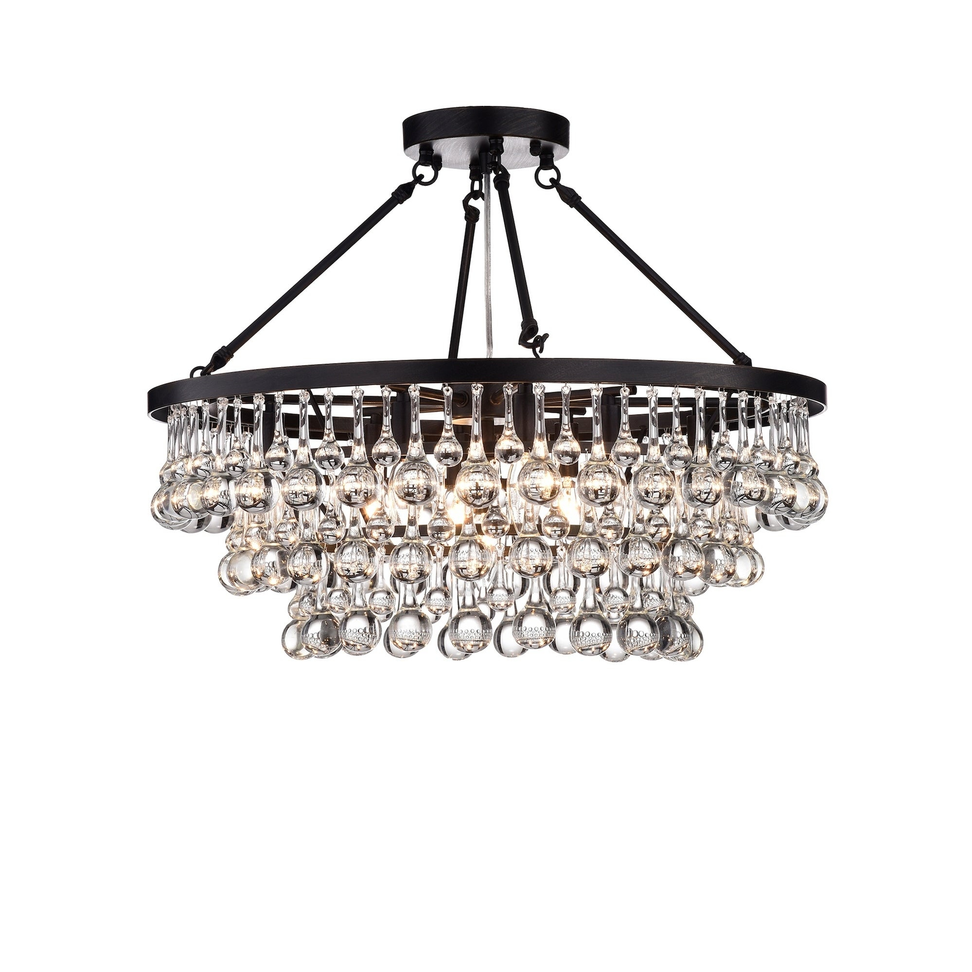 Arosa 9-Light Black Semi Flush Mount with regard to Mcknight 9-Light Chandeliers (Image 9 of 30)