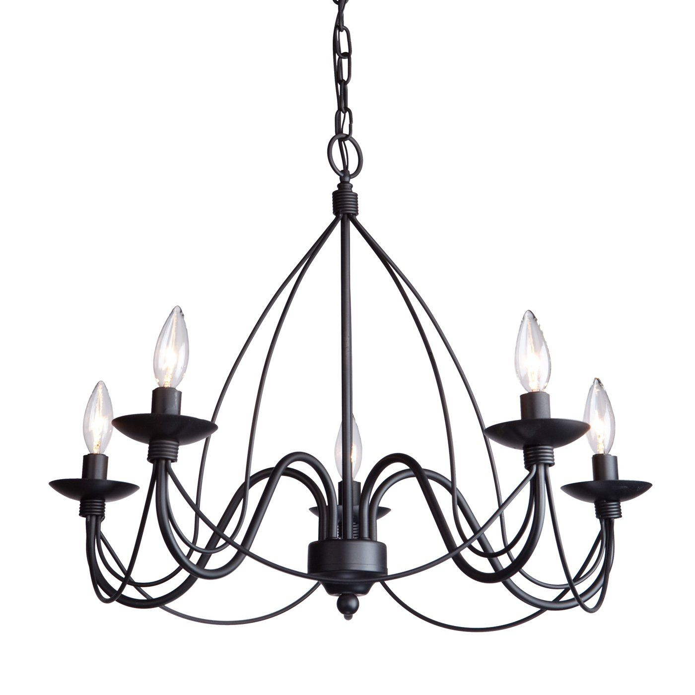 Artcraft Lighting Ac1485 Wrought Iron 5 Light Chandelier With Regard To Diaz 6 Light Candle Style Chandeliers (View 10 of 30)