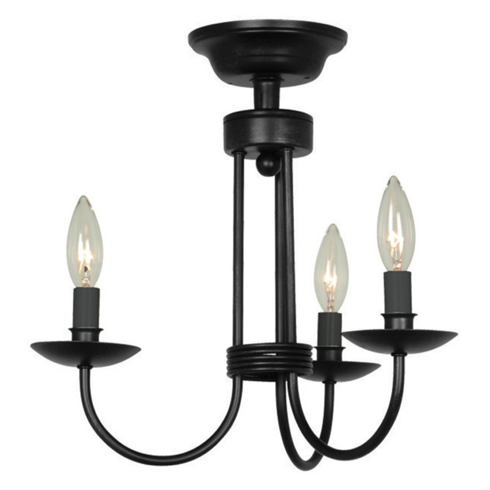 Artcraft Wrought Iron Ac1783 Semi Flush Mount Light Black Regarding Suki 5 Light Shaded Chandeliers (View 3 of 30)