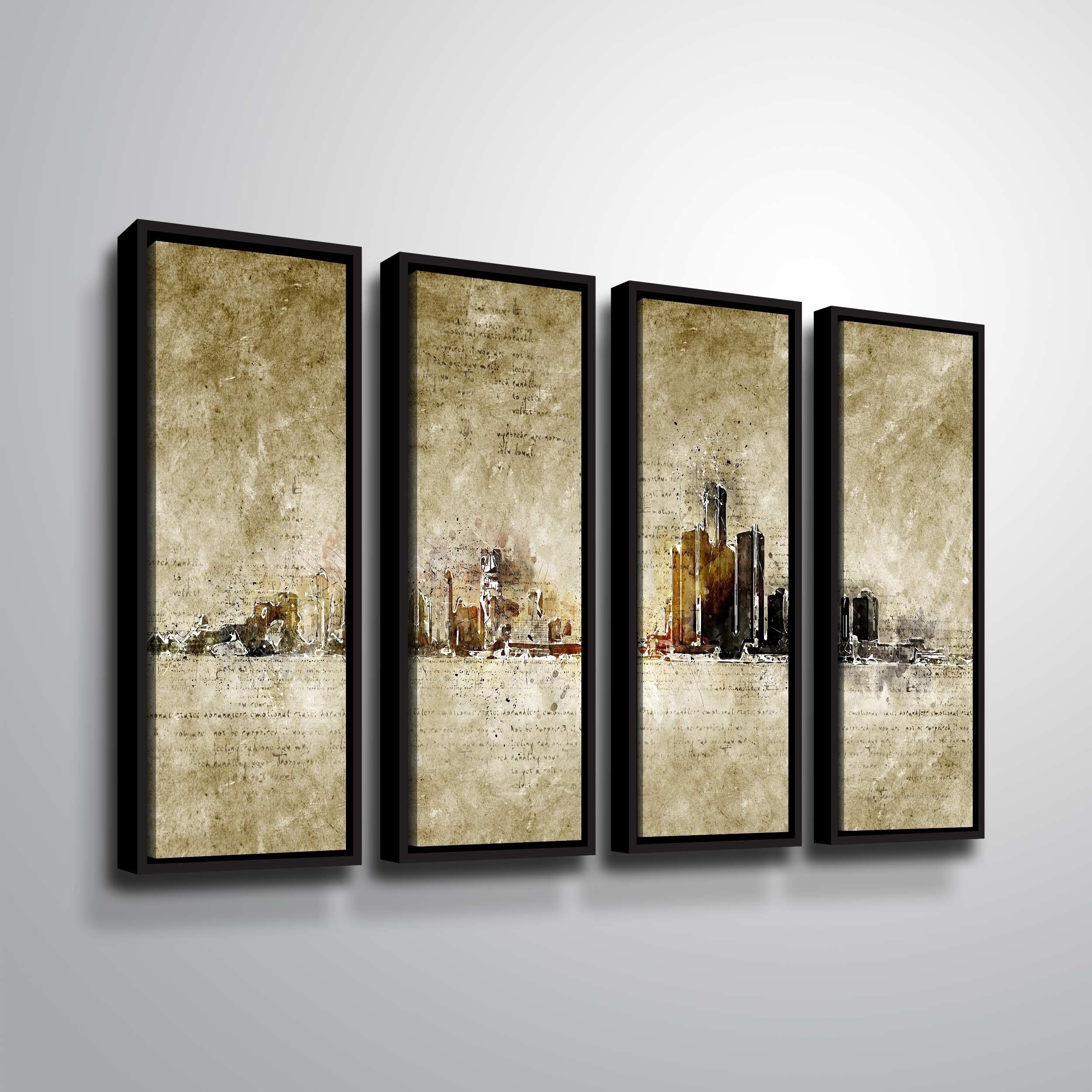 Artwall 'detroit' 4 Piece Floater Framed Canvas Set With 4 Piece Wall Decor Sets (View 6 of 30)