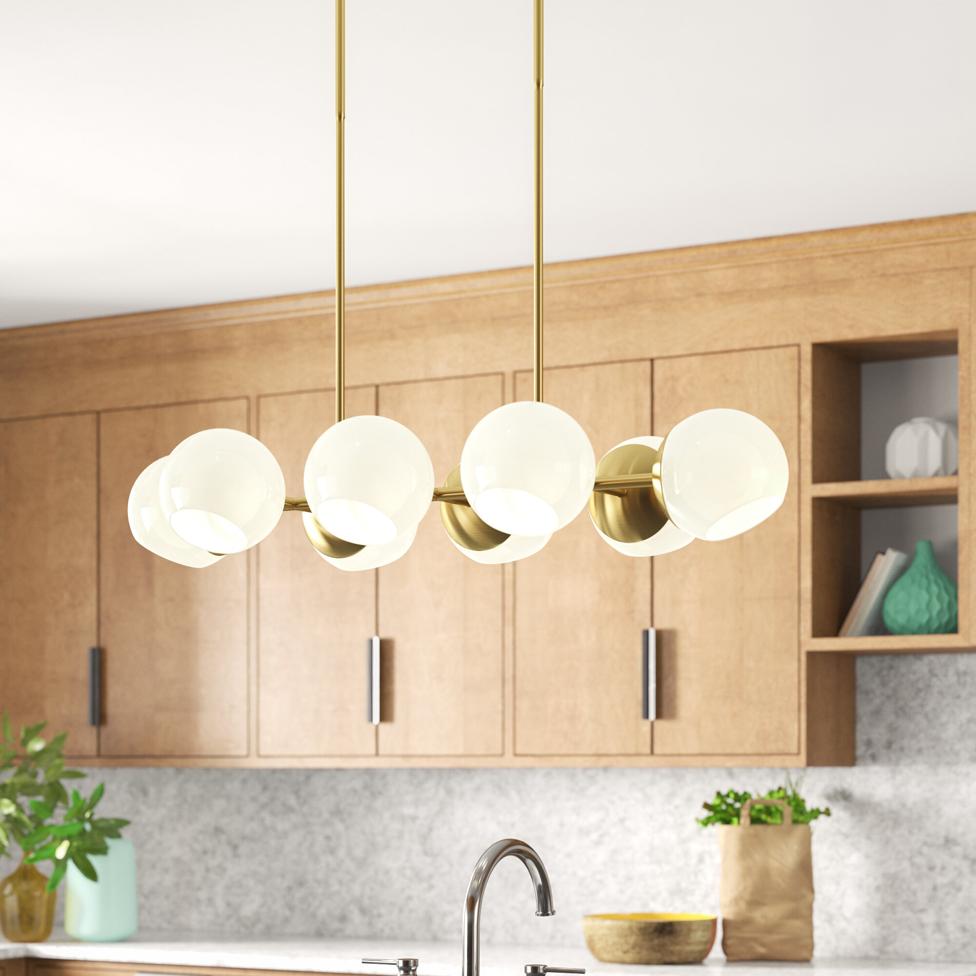 Ashley 8 Light Kitchen Island Linear Pendant For Neal 9 Light Kitchen Island Teardrop Pendants (View 2 of 30)