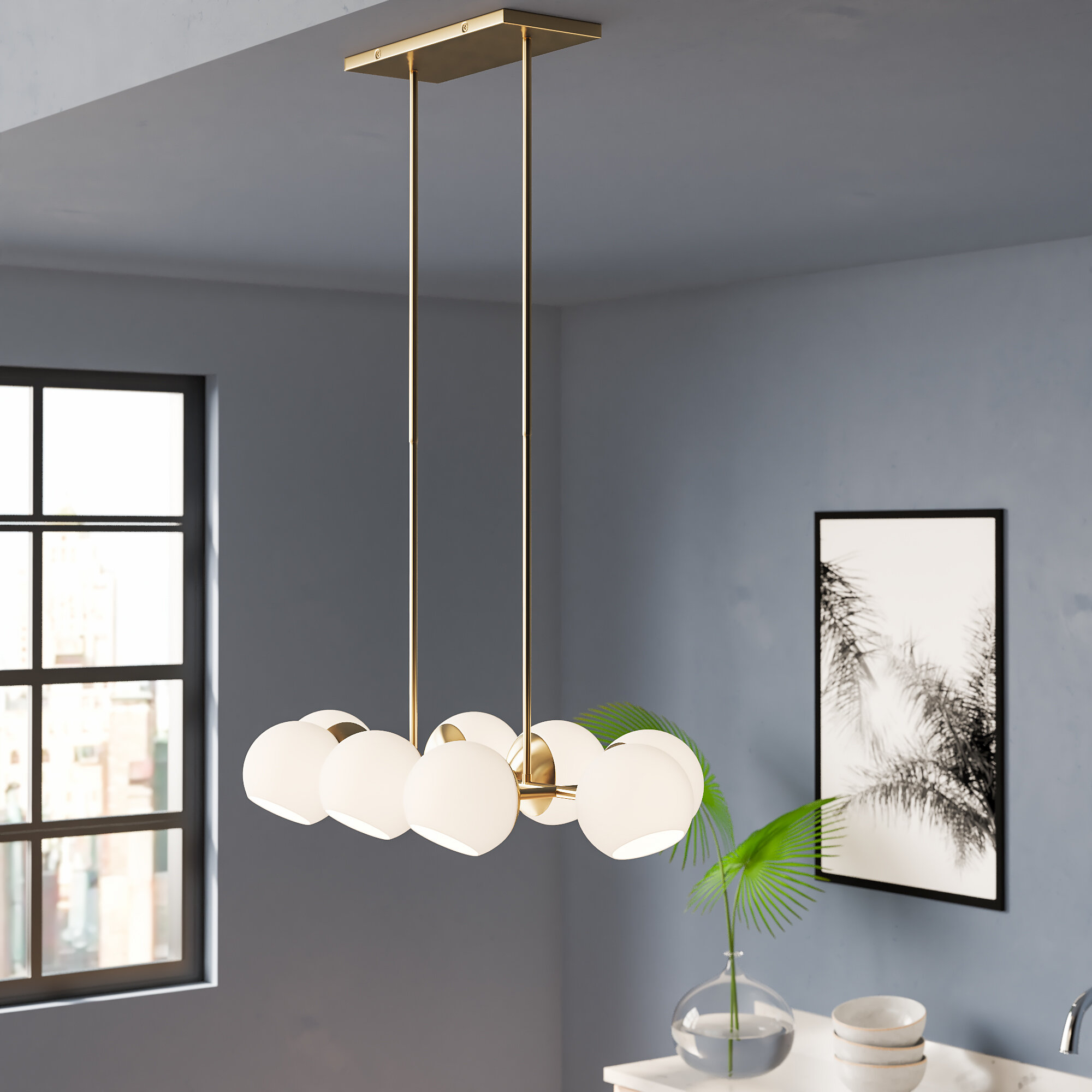 Ashley 8 Light Kitchen Island Linear Pendant Regarding Bautista 6 Light Kitchen Island Bulb Pendants (View 4 of 30)