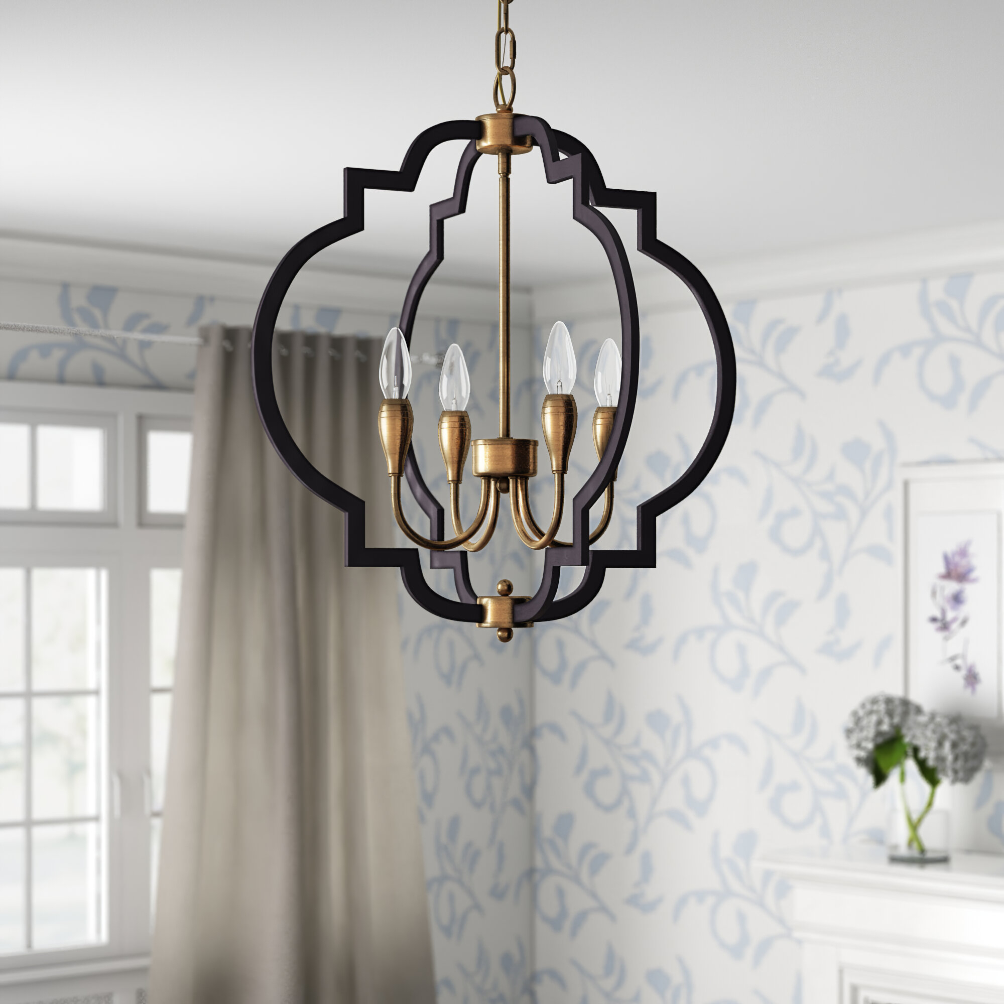 Astin 4 Light Geometric Chandelier Regarding Bennington 4 Light Candle Style Chandeliers (View 14 of 30)