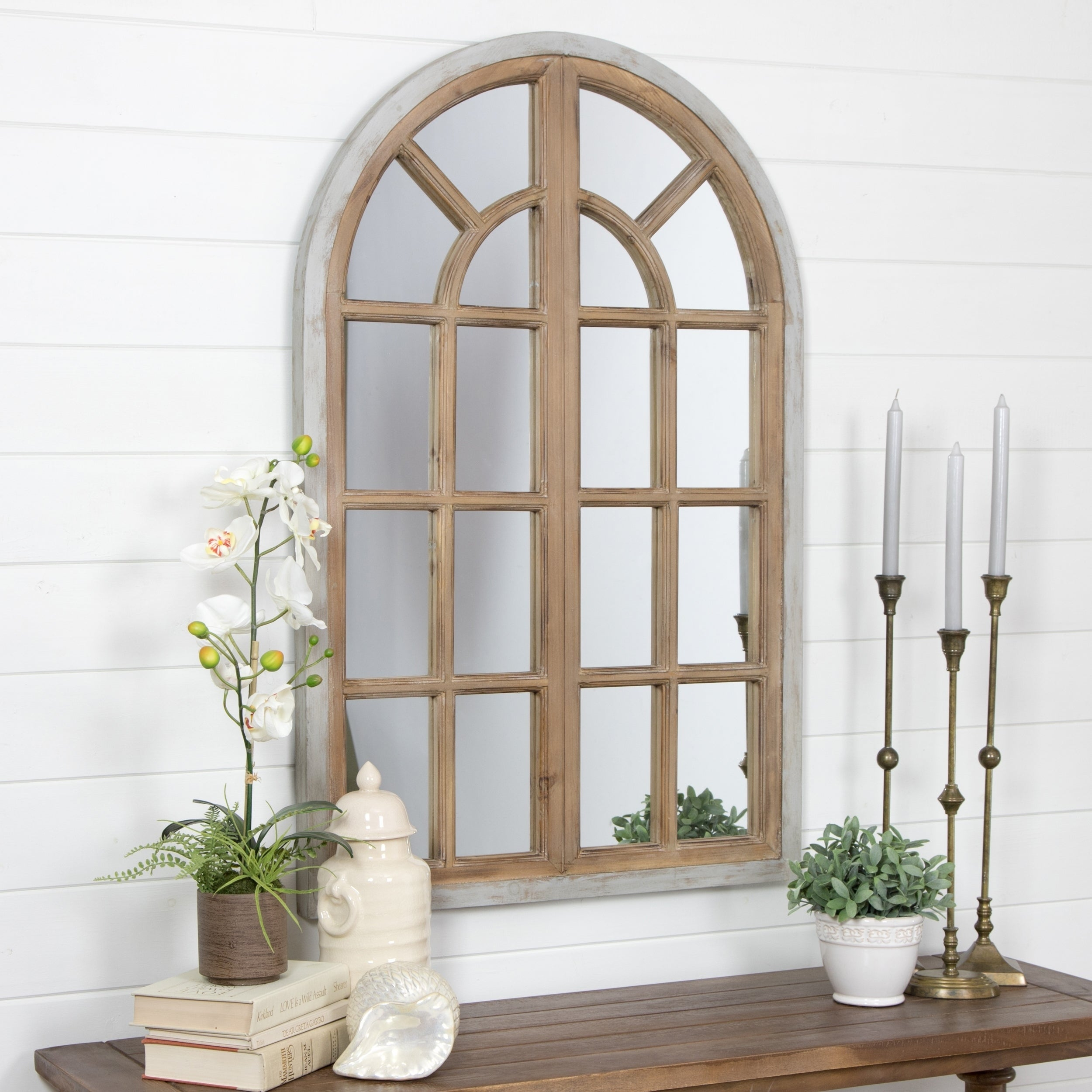 "Athena Farmhouse Arch Wall Mirror - Brown - 43""h X 28.5""w X 1.5""d with Arch Vertical Wall Mirrors (Image 12 of 30)"