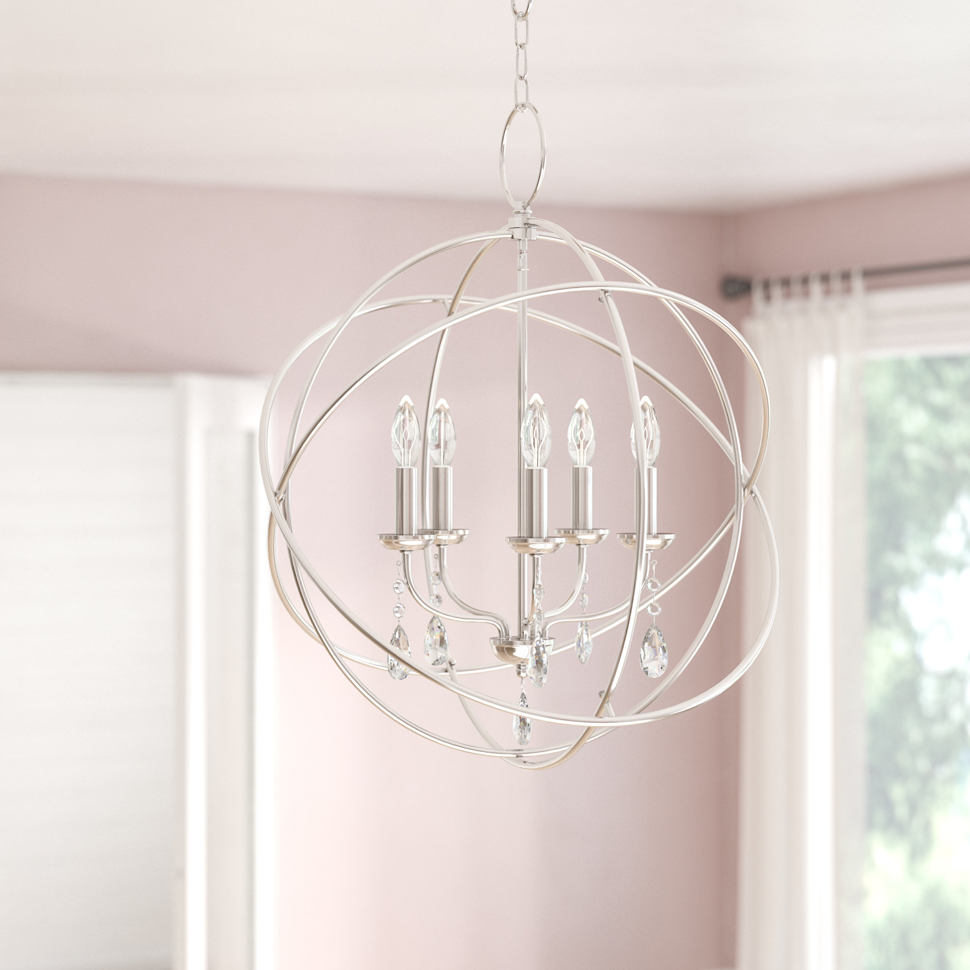 Auberta 5 Light Globe Chandelier Regarding Verlene Foyer 5 Light Globe Chandeliers (View 8 of 30)