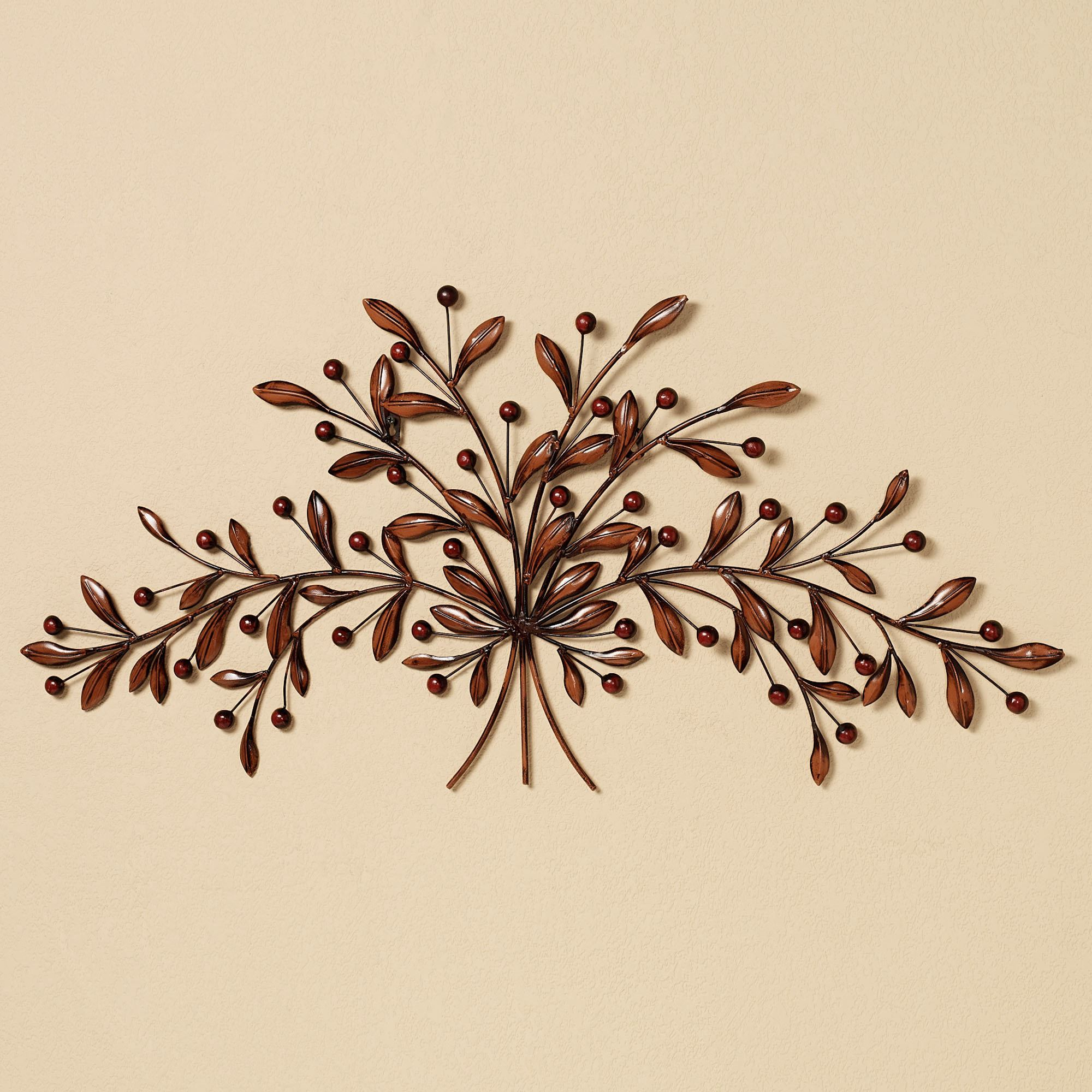 Aufregend Wall Art Metal Leaves Nautical Branch Flowers With Regard To Scroll Leaf Wall Decor (View 11 of 30)