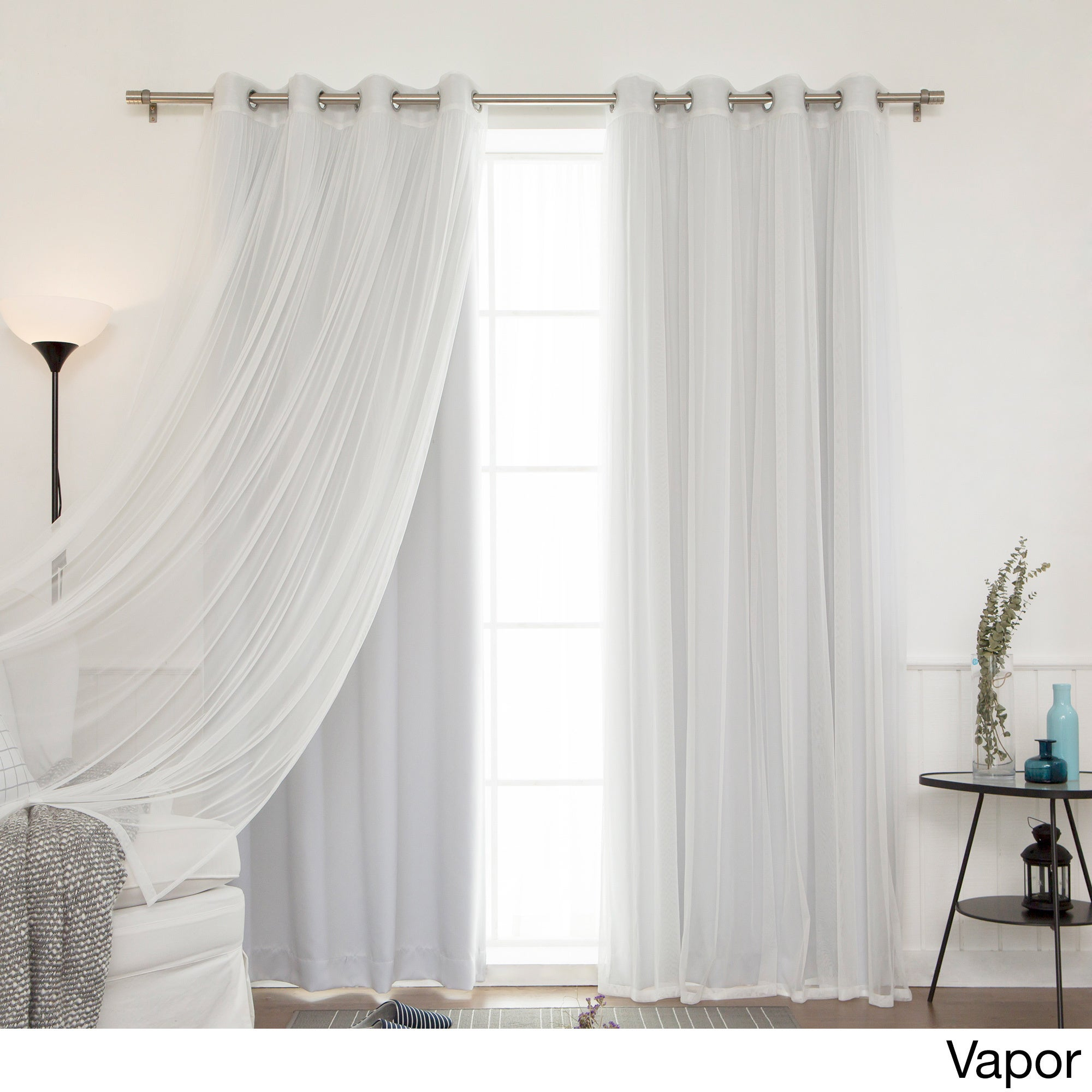Aurora Home Mix And Match Blackout Tulle Lace Sheer 4 Piece Curtain Panel  Set within Aurora Sun Wall Decor (Image 5 of 30)