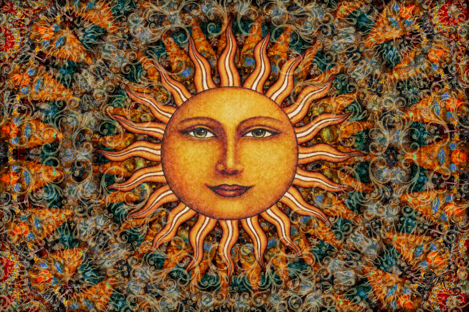 Aurora Sun Tapestry Wall Hangingartist Dan Morris, College Dorm Decor,  Washable, Sun Tapestry, Multiple Sizes, ©Dan Morris inside Aurora Sun Wall Decor (Image 6 of 30)