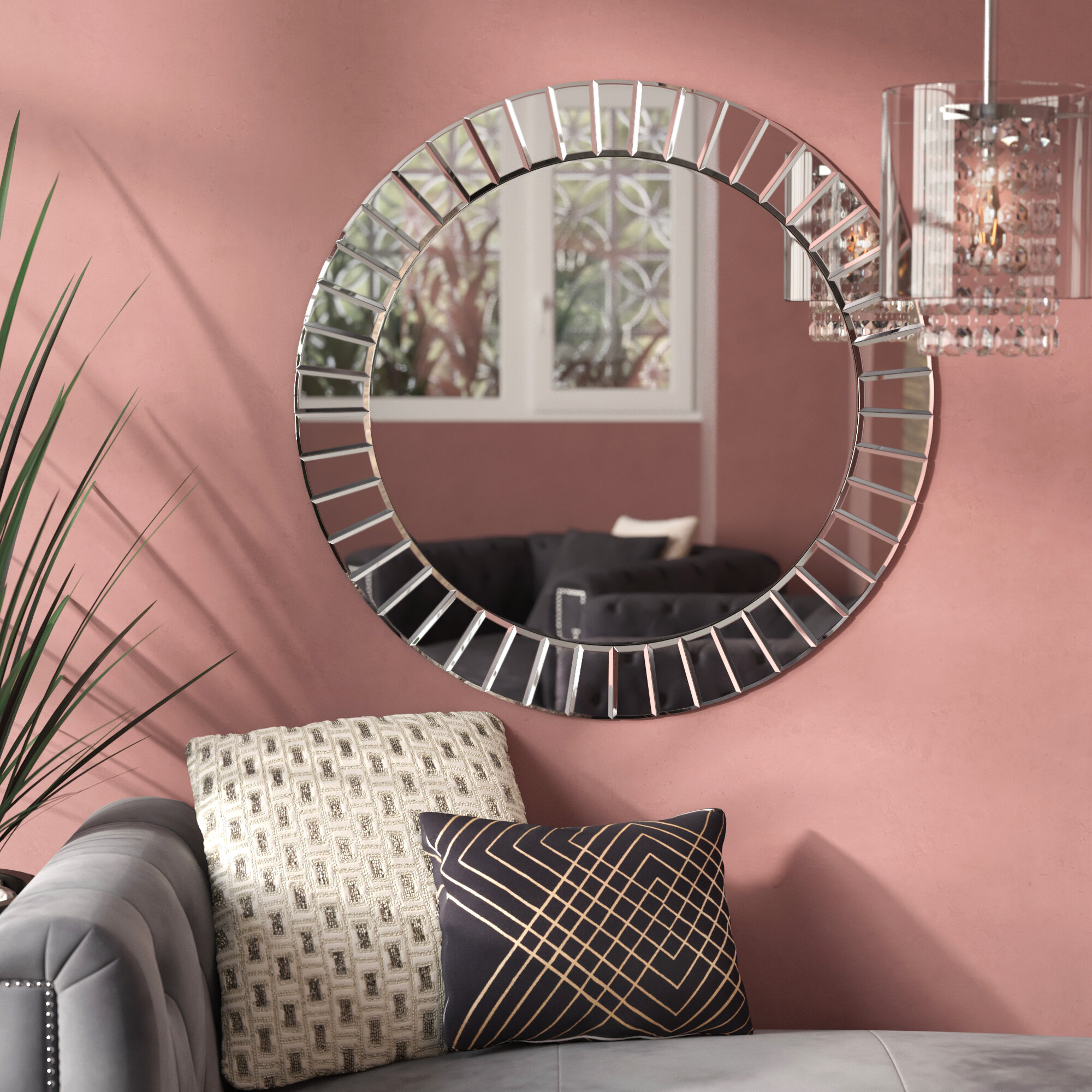 Avanley Round Modern & Contemporary Beveled Accent Mirror With Lidya Frameless Beveled Wall Mirrors (View 9 of 30)