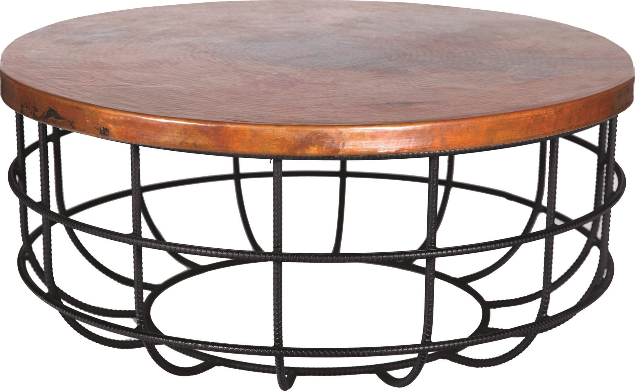 Axel Coffee Table In Rebar With Round Hammered Copper Top in Coffee Sign With Rebar Wall Decor (Image 1 of 30)