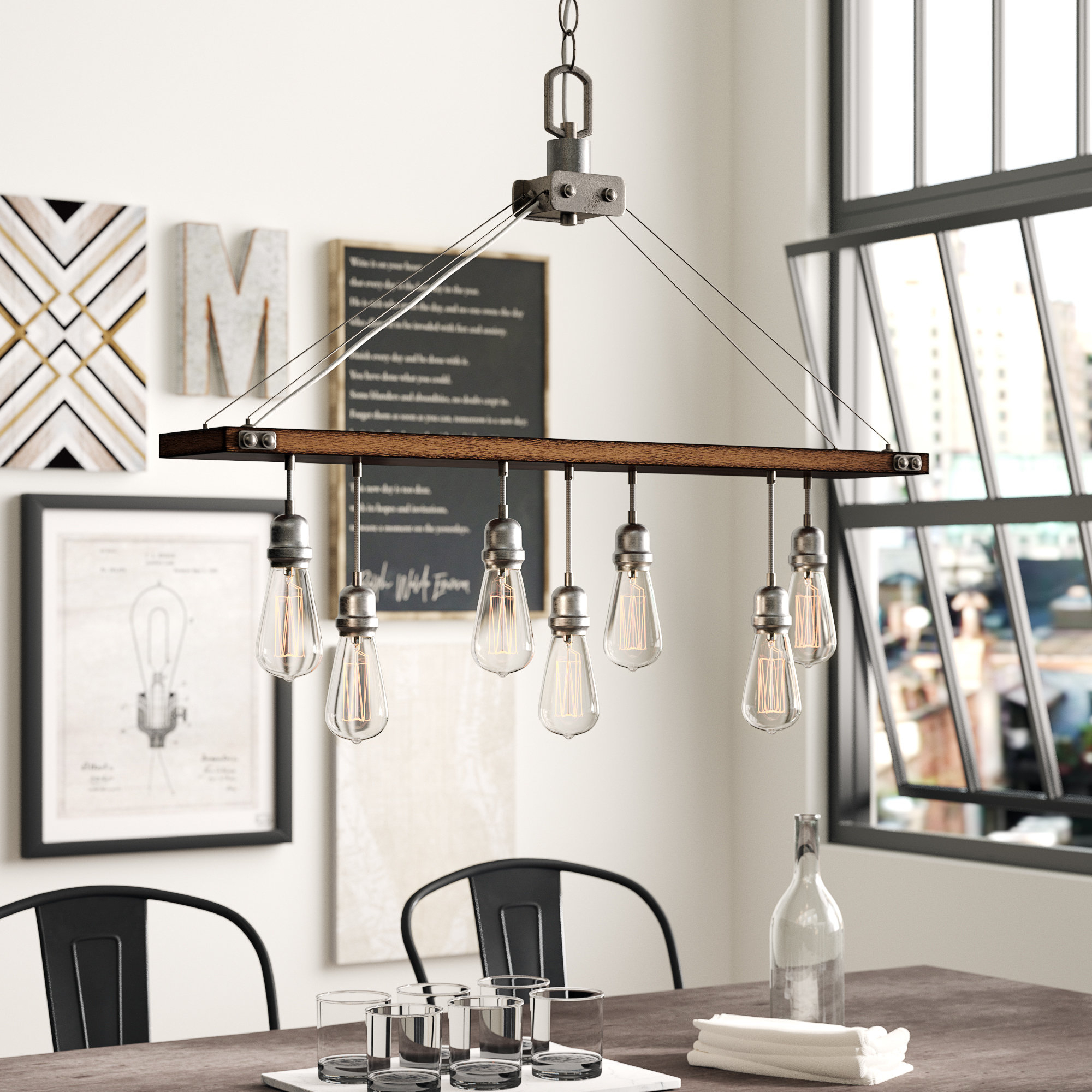 Baez 7 Light Rectangle Chandelier With Ellenton 4 Light Rectangle Chandeliers (View 24 of 30)