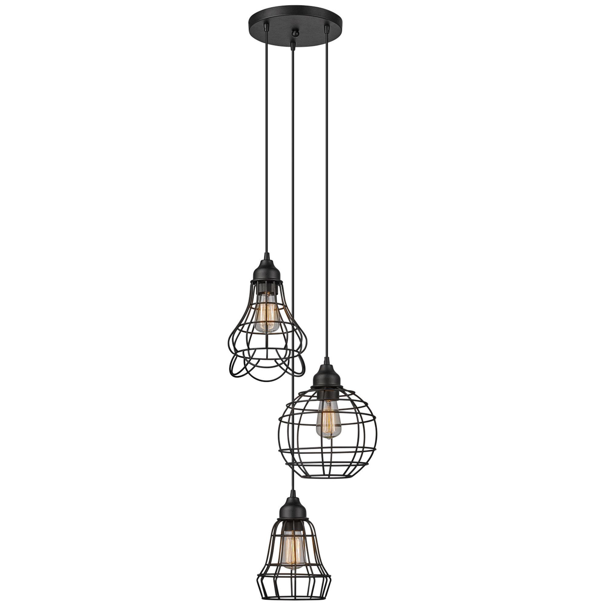 Barbosa 3 Light Cluster Geometric Pendant In Demi 1 Light Globe Pendants (View 14 of 30)