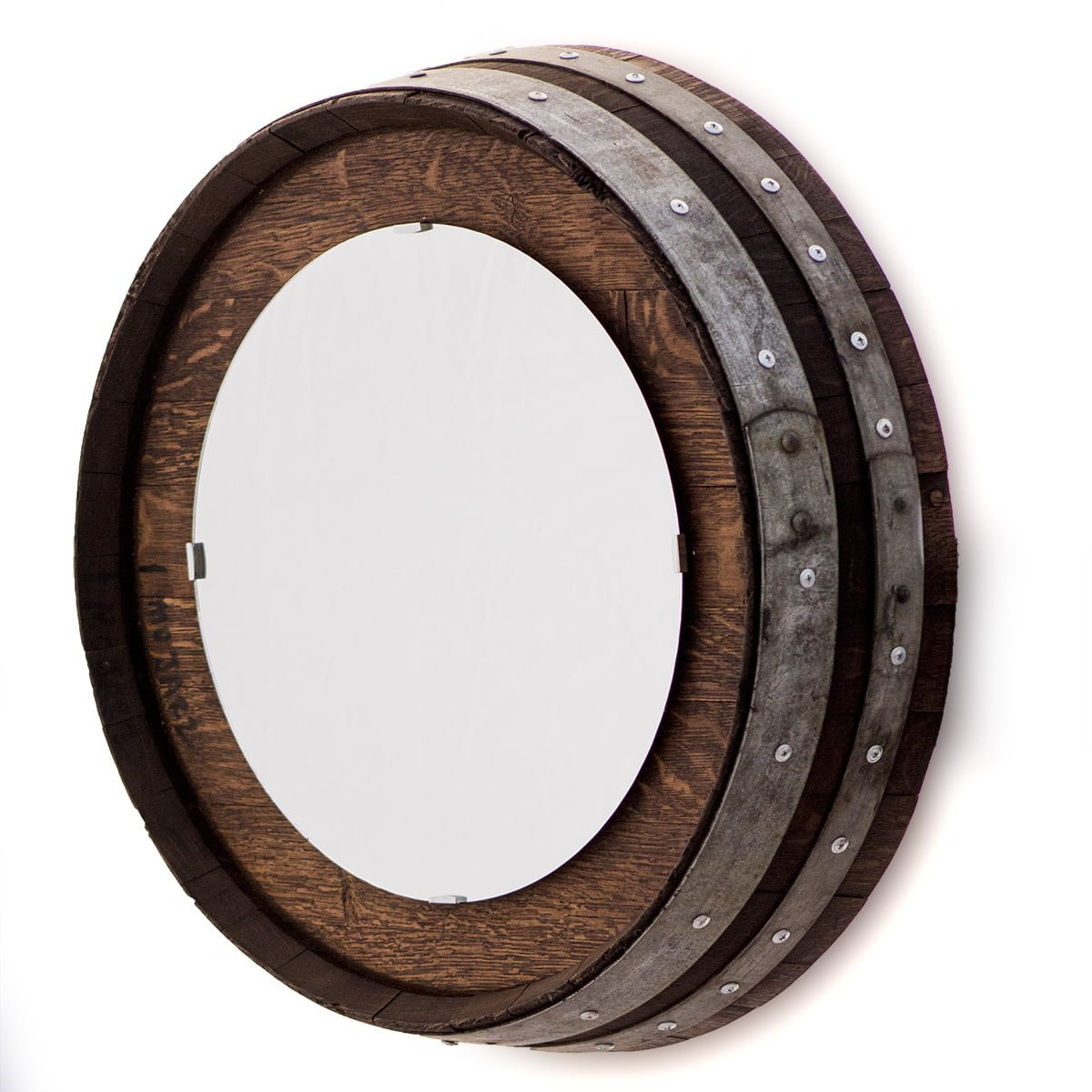 Barrel End Wall Mirror With Staves Inside Bem Decorative Wall Mirrors (View 16 of 30)