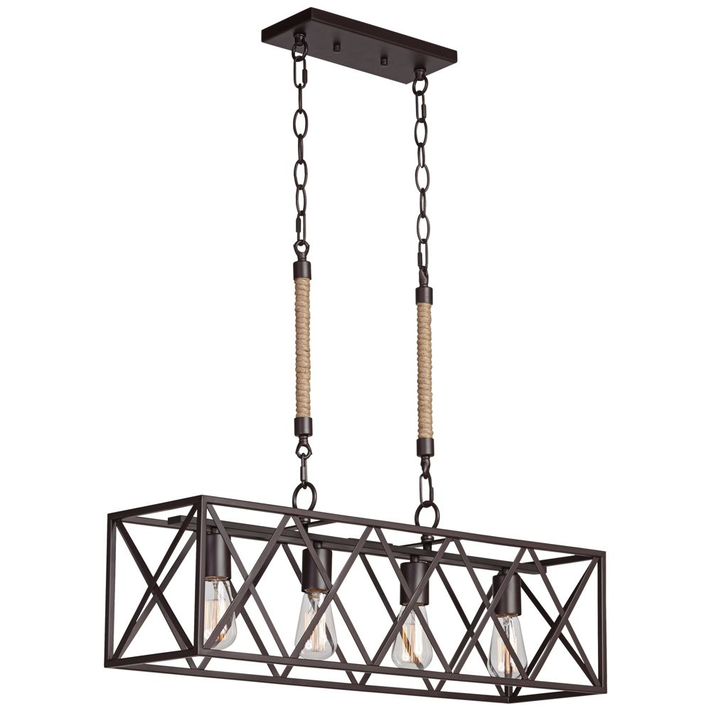 "Barron 29 1/4"" Wide 4 Light Coffee Bronze Island Chandelier Inside Ellenton 4 Light Rectangle Chandeliers (View 21 of 30)"