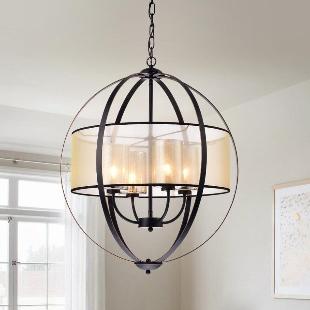 Bastien Metal 24 Inch 4 Light Strap Globe Pendant In 2019 Inside Newent 5 Light Shaded Chandeliers (View 22 of 30)