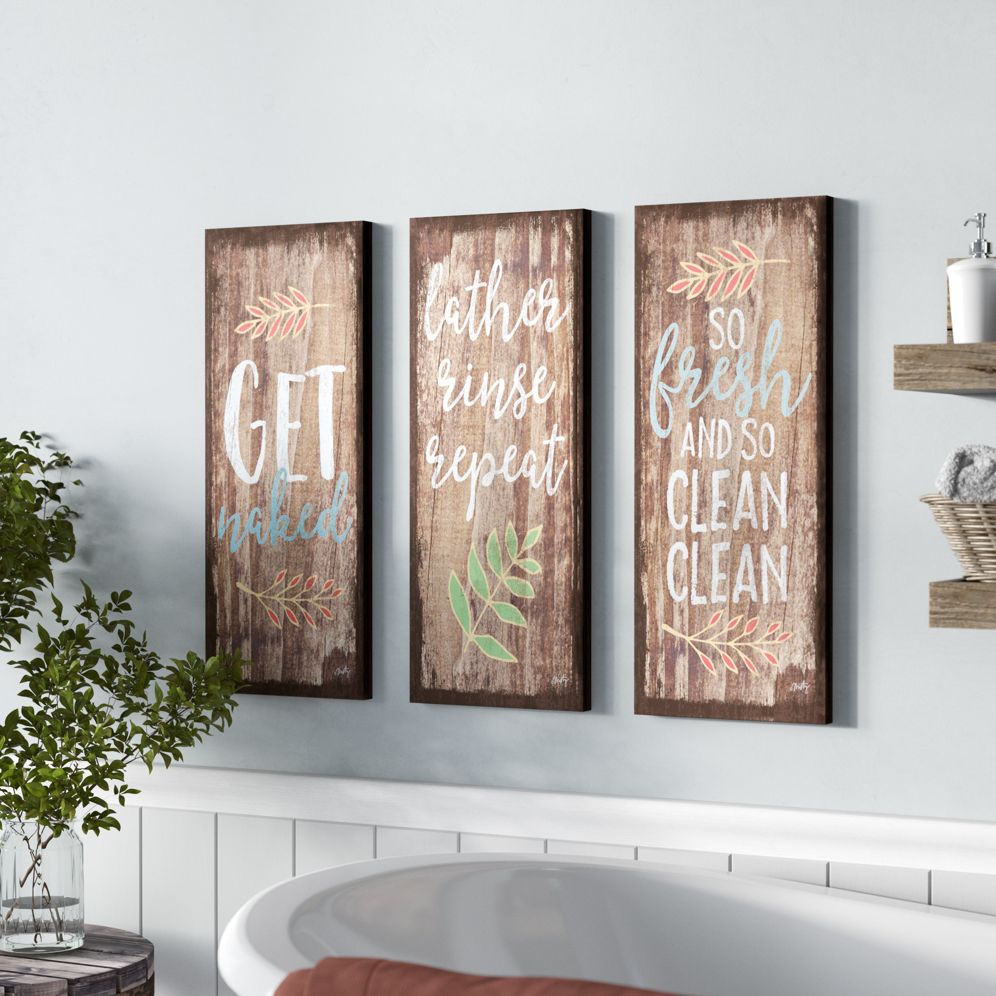 Bath & Laundry Wall Art for 4 Piece Metal Wall Decor Sets (Image 11 of 30)