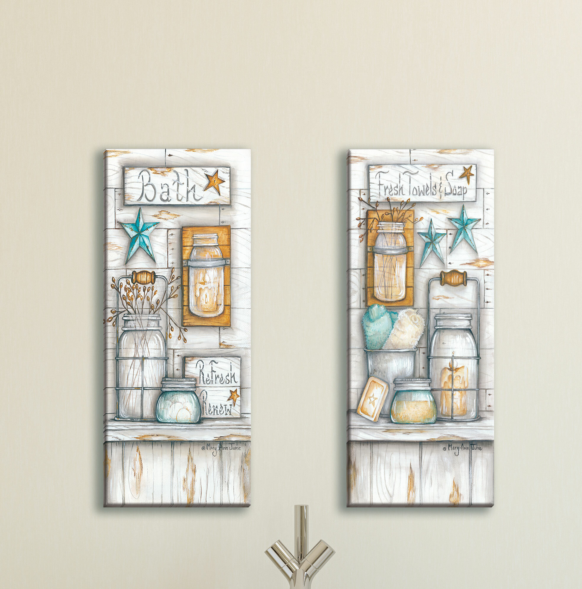Bath & Laundry Wall Art In 2 Piece Panel Wood Wall Decor Sets (set Of 2) (View 11 of 30)