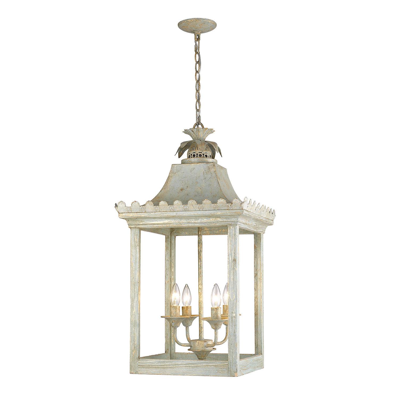 Baucom 4 Light Lantern Square / Rectangle Pendant Pertaining To Destrey 3 Light Lantern Square/rectangle Pendants (View 10 of 30)