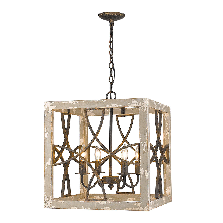 Baudette 4 Light Square Pendant Within Freeburg 4 Light Lantern Square / Rectangle Pendants (View 6 of 30)