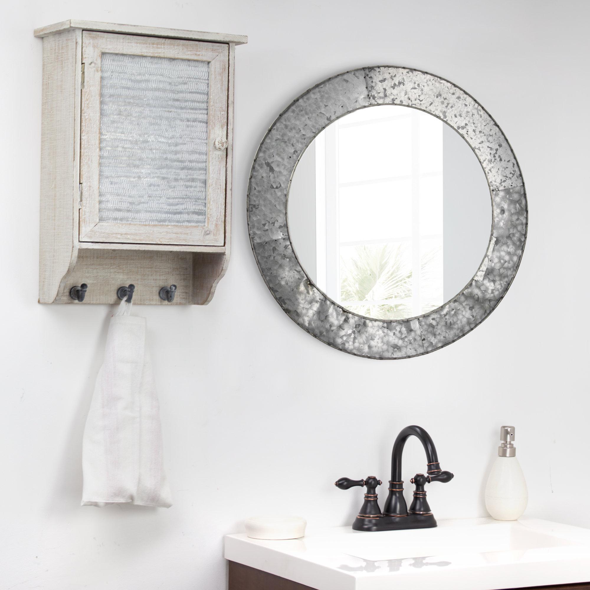 Baumgartner Galvanized Round Metal Wall Mirror Regarding Point Reyes Molten Round Wall Mirrors (View 23 of 30)