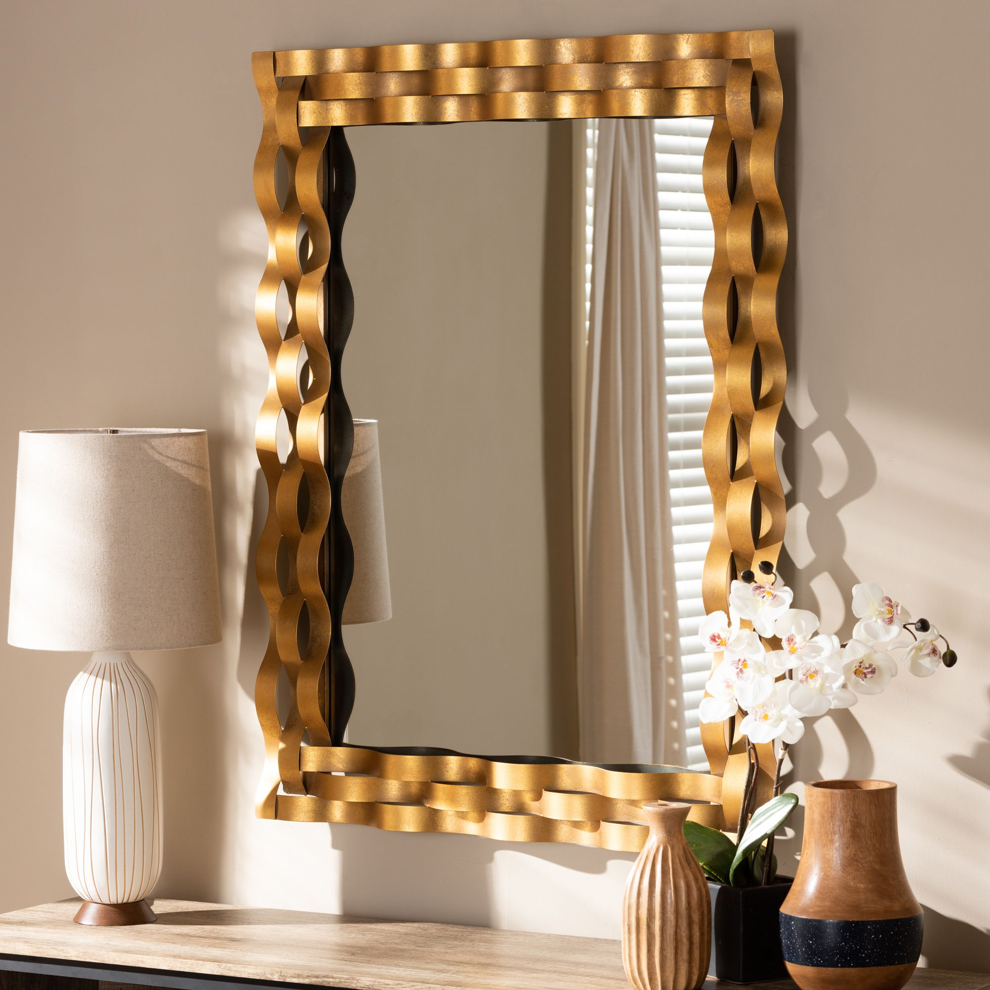 Baxton Studio Arpina Modern And Contemporary Antique Gold With Regard To Rectangle Accent Wall Mirrors (View 19 of 30)