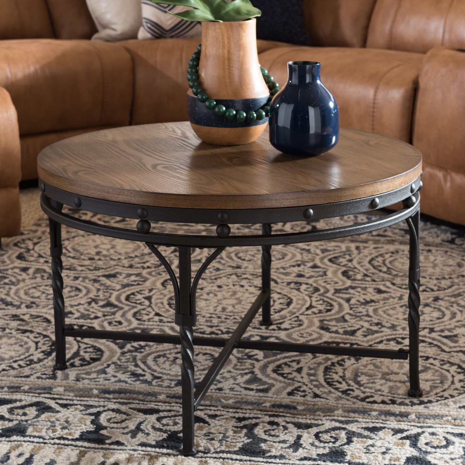 Baxton Studio Austin Industrial Antique Round Coffee Table For Austin Industrial Accent Mirrors (Image 8 of 30)