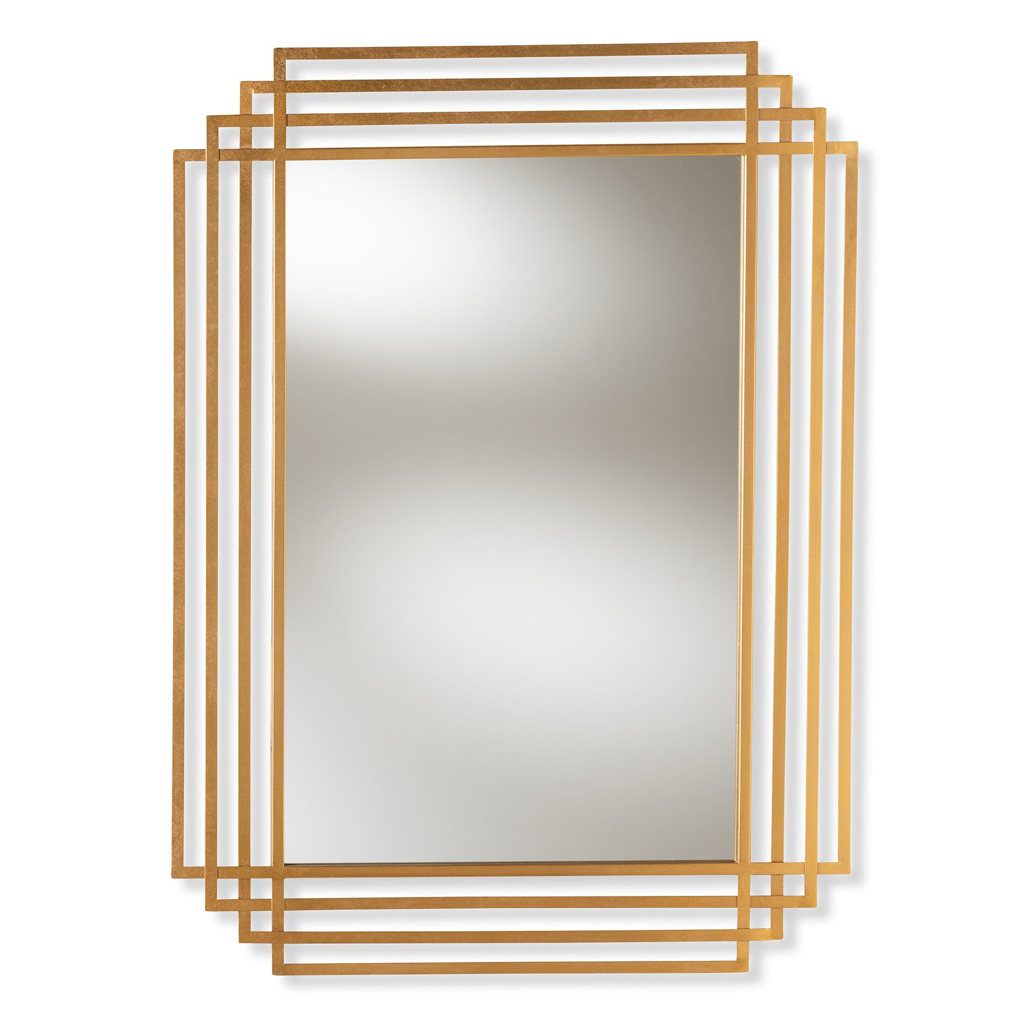 Baxton Studio Kalinda Art Deco Antique Gold Finished Intended For Rectangle Accent Wall Mirrors (View 7 of 30)