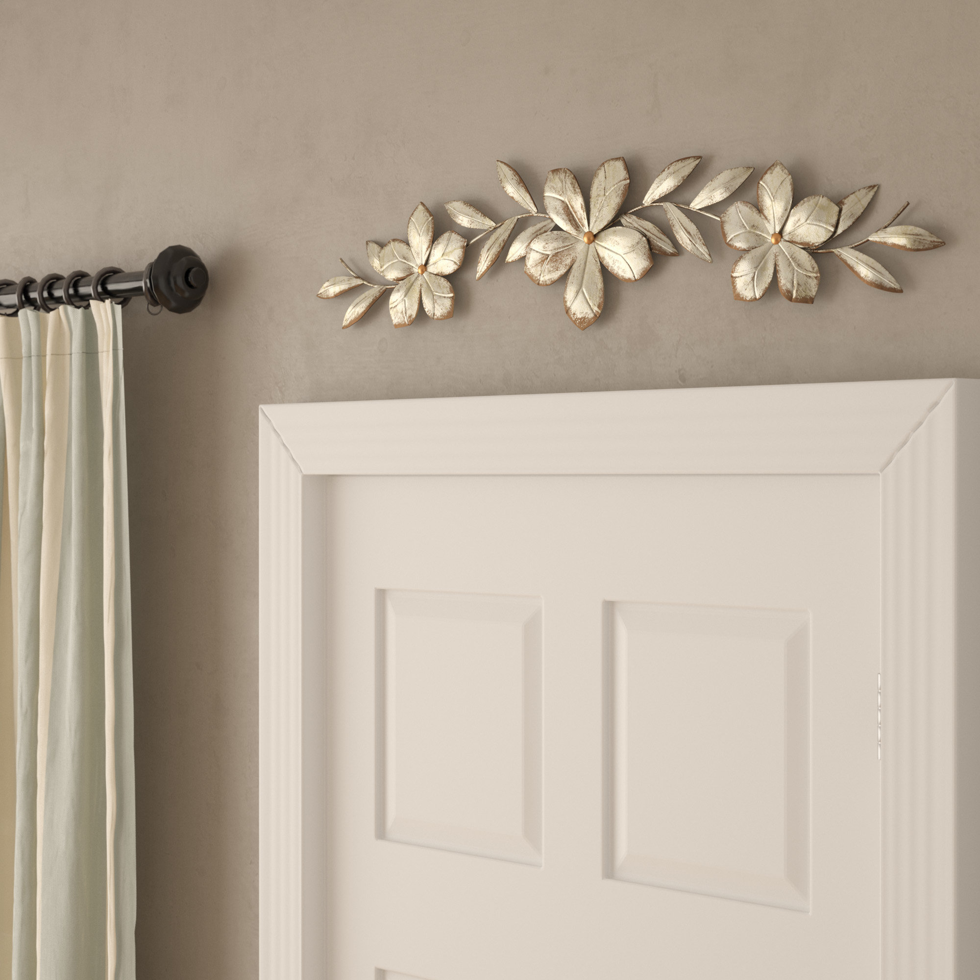 Bay Isle Home Flower Over The Door Wall Décor & Reviews With Regard To Brushed Pearl Over The Door Wall Decor (View 6 of 30)