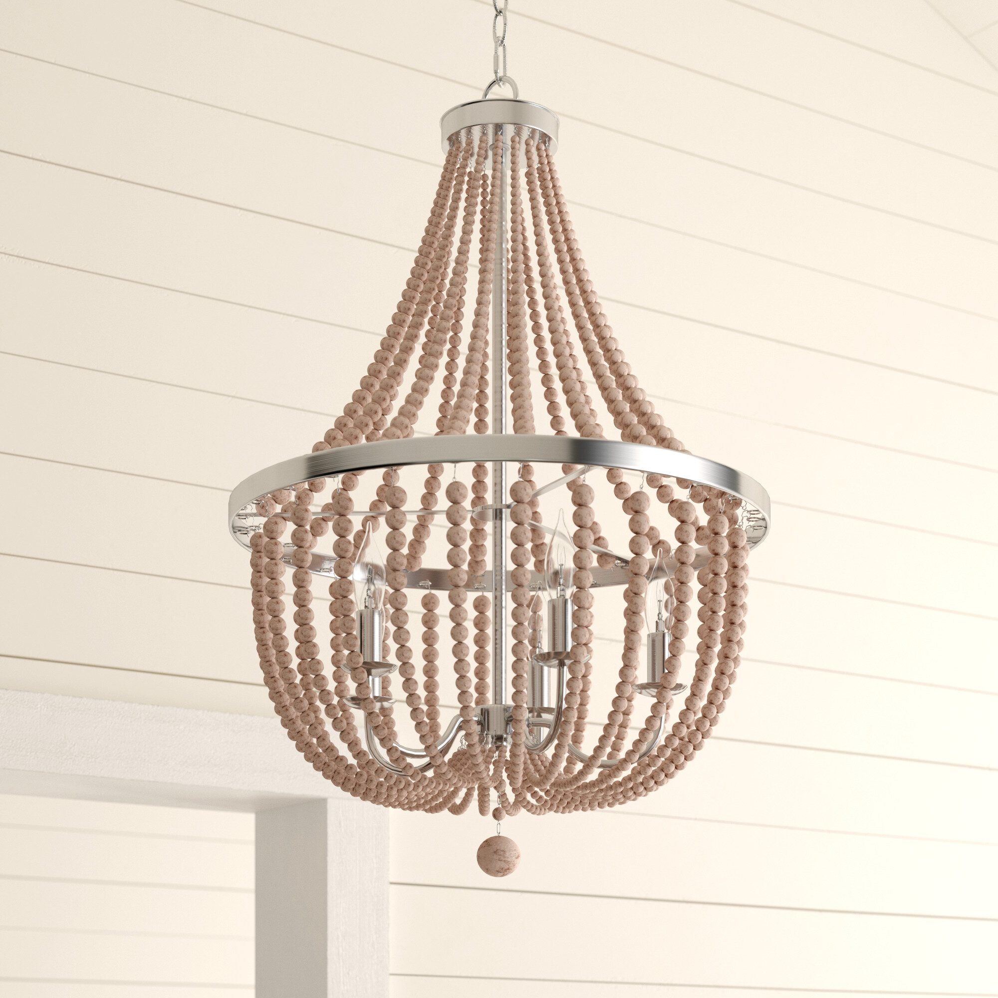 Bay Isle Home Tilden Wood Bead 5 Light Empire Chandelier Intended For Kenna 5 Light Empire Chandeliers (View 11 of 30)