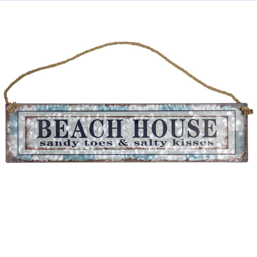 """Beach House"""" Galvanized Metal With Rope Hanger Wall Decor Throughout Metal Rope Wall Sign Wall Decor (View 9 of 30)"""