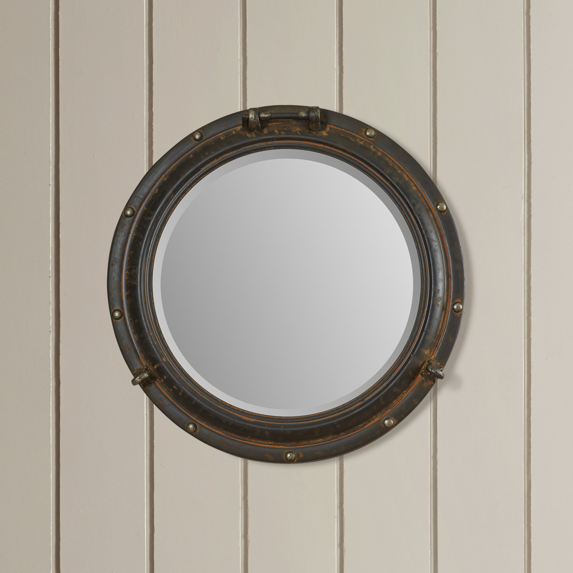 Beachcrest Home Alie Traditional Beveled Distressed Accent Mirror Pertaining To Lidya Frameless Beveled Wall Mirrors (View 21 of 30)