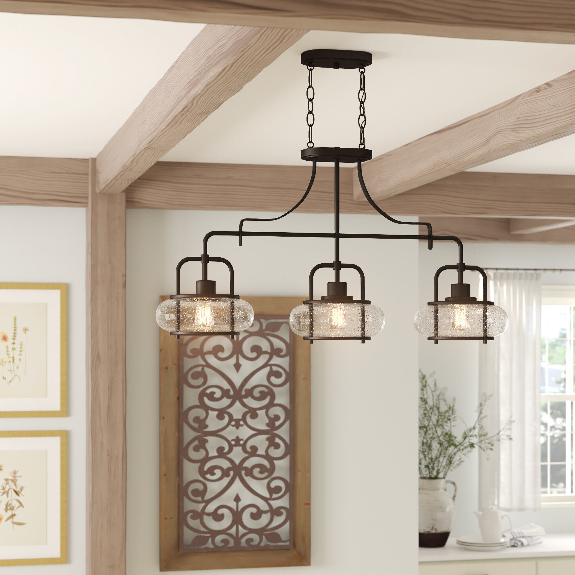 Beachcrest Home Braxton 3 Light Kitchen Island Linear Pendant For Ariel 3 Light Kitchen Island Dome Pendants (Image 11 of 30)
