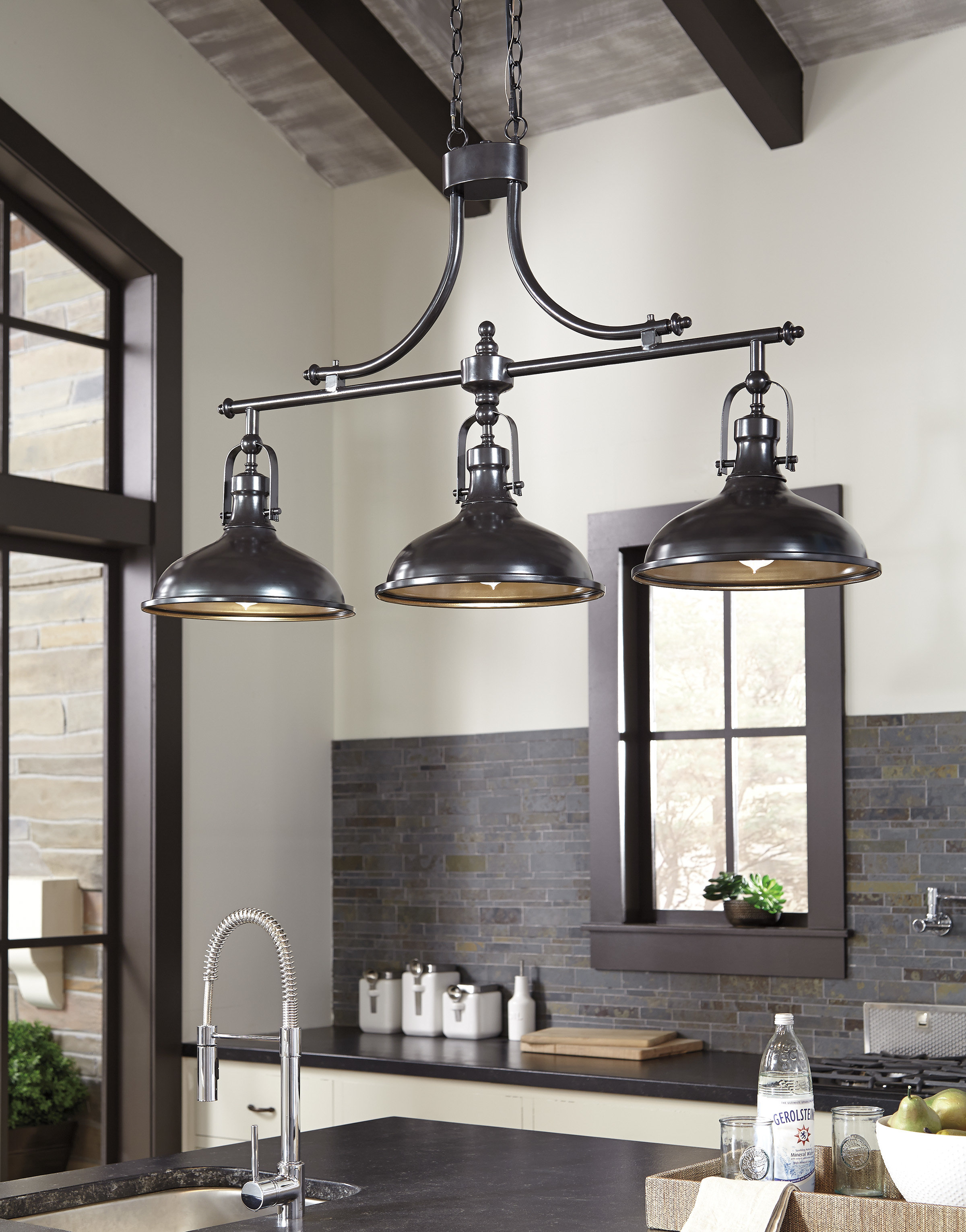 Beachcrest Home Martinique 3 Light Kitchen Island Pendant With Ariel 3 Light Kitchen Island Dome Pendants (Image 12 of 30)
