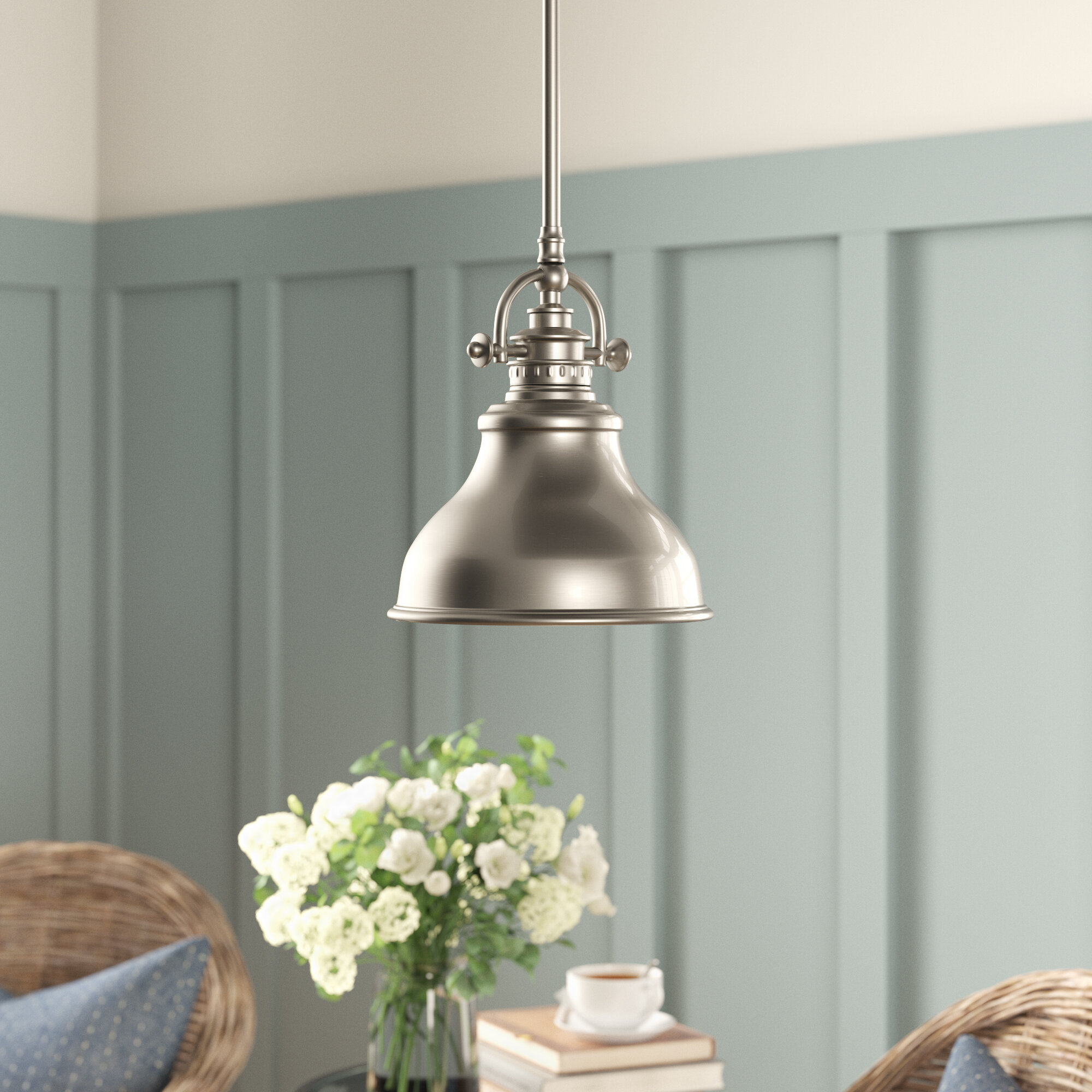 Beachcrest Home Mueller 1-Light Single Dome Pendant with regard to Spokane 1-Light Single Urn Pendants (Image 5 of 30)