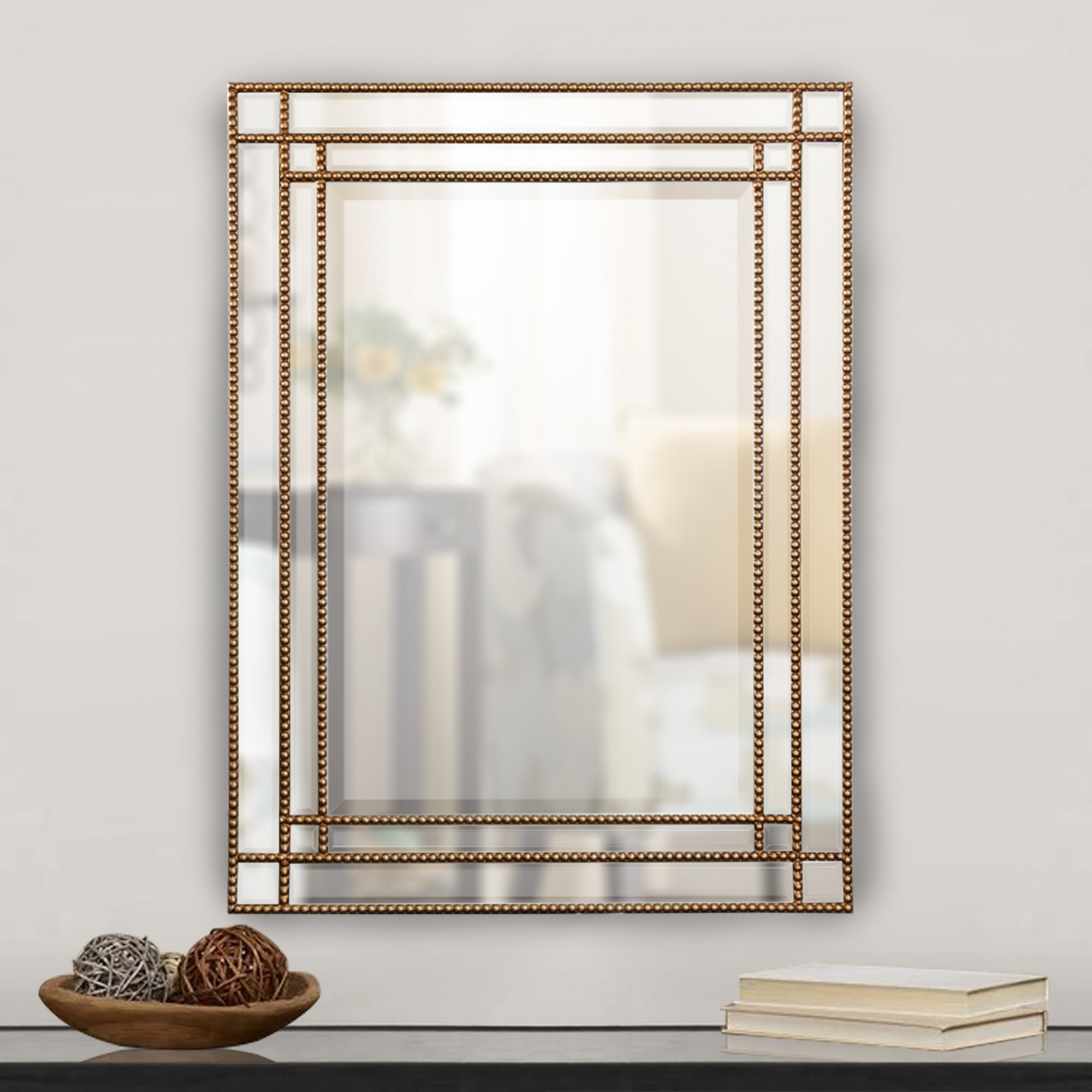 Beaded Frame Mirror | Wayfair Inside Lake Park Beveled Beaded Accent Wall Mirrors (View 5 of 30)