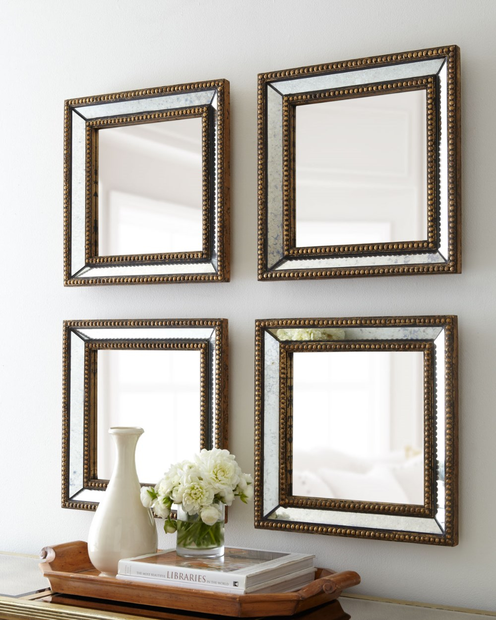 Beaded Square Home Decor Wall Mirror, View Mirror, Guanding In Caja Rectangle Glass Frame Wall Mirrors (View 23 of 30)