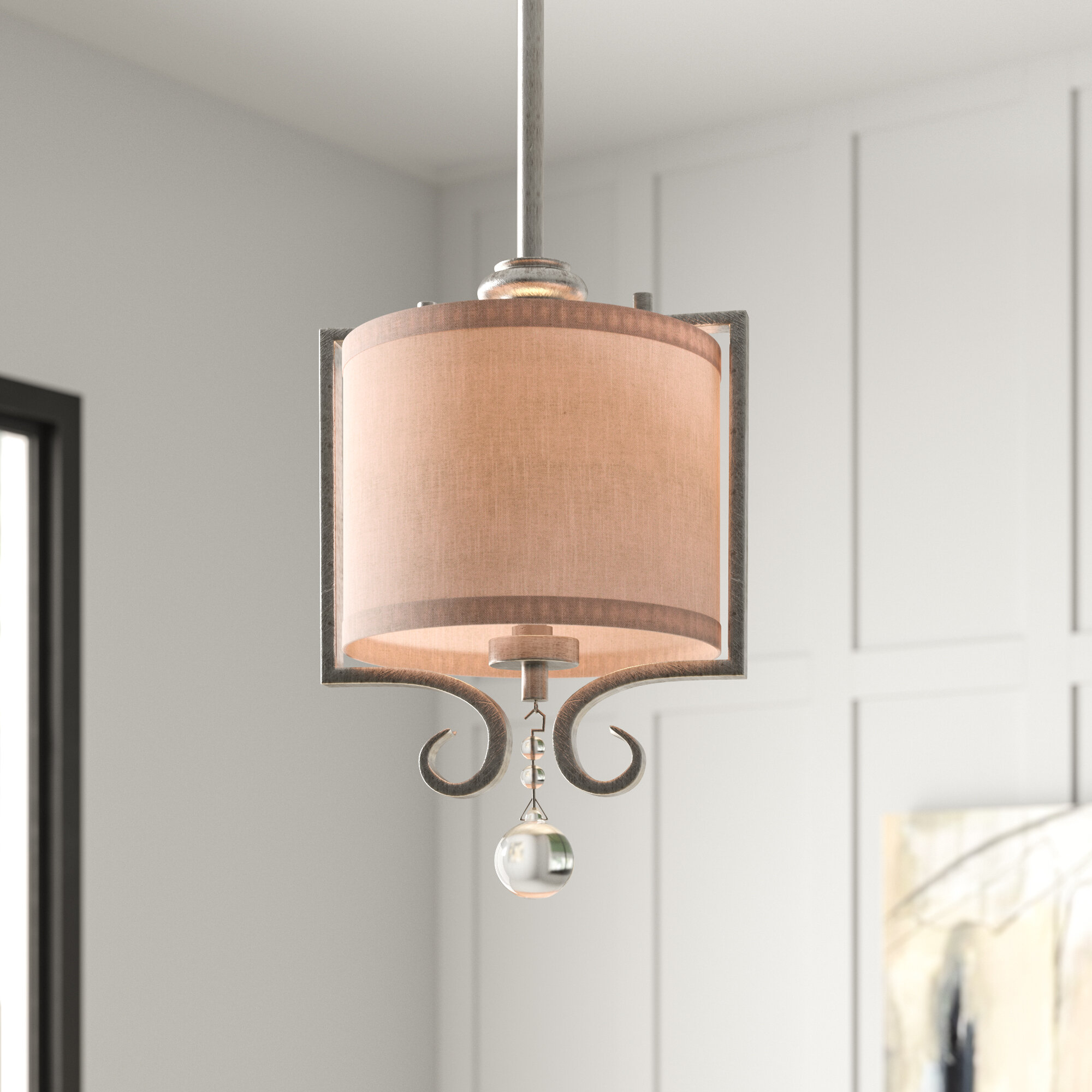 Beasley 1-Light Single Drum Pendant in Spokane 1-Light Single Urn Pendants (Image 6 of 30)