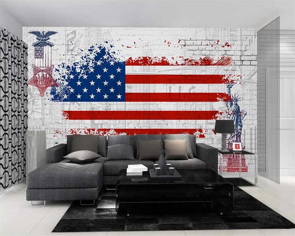 Beibehang Custom Wallpaper Retro American Flag Graffiti Tv Background Walls  Home Decor Living Room Bedroom Mural 3D Wallpaper Regarding American Flag 3D Wall Decor (Image 18 of 30)