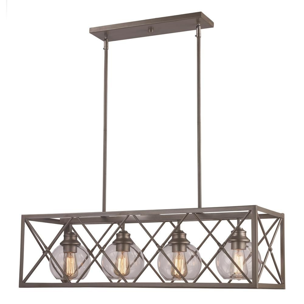 Bel Air Lighting 4-Light Antique Silver Leaf Pendant with regard to Odie 8-Light Kitchen Island Square / Rectangle Pendants (Image 1 of 30)