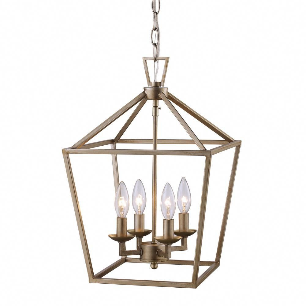 Bel Air Lighting Lacey 4 Light Antique Silver Leaf Pendant Throughout Varnum 4 Light Lantern Pendants (View 5 of 30)